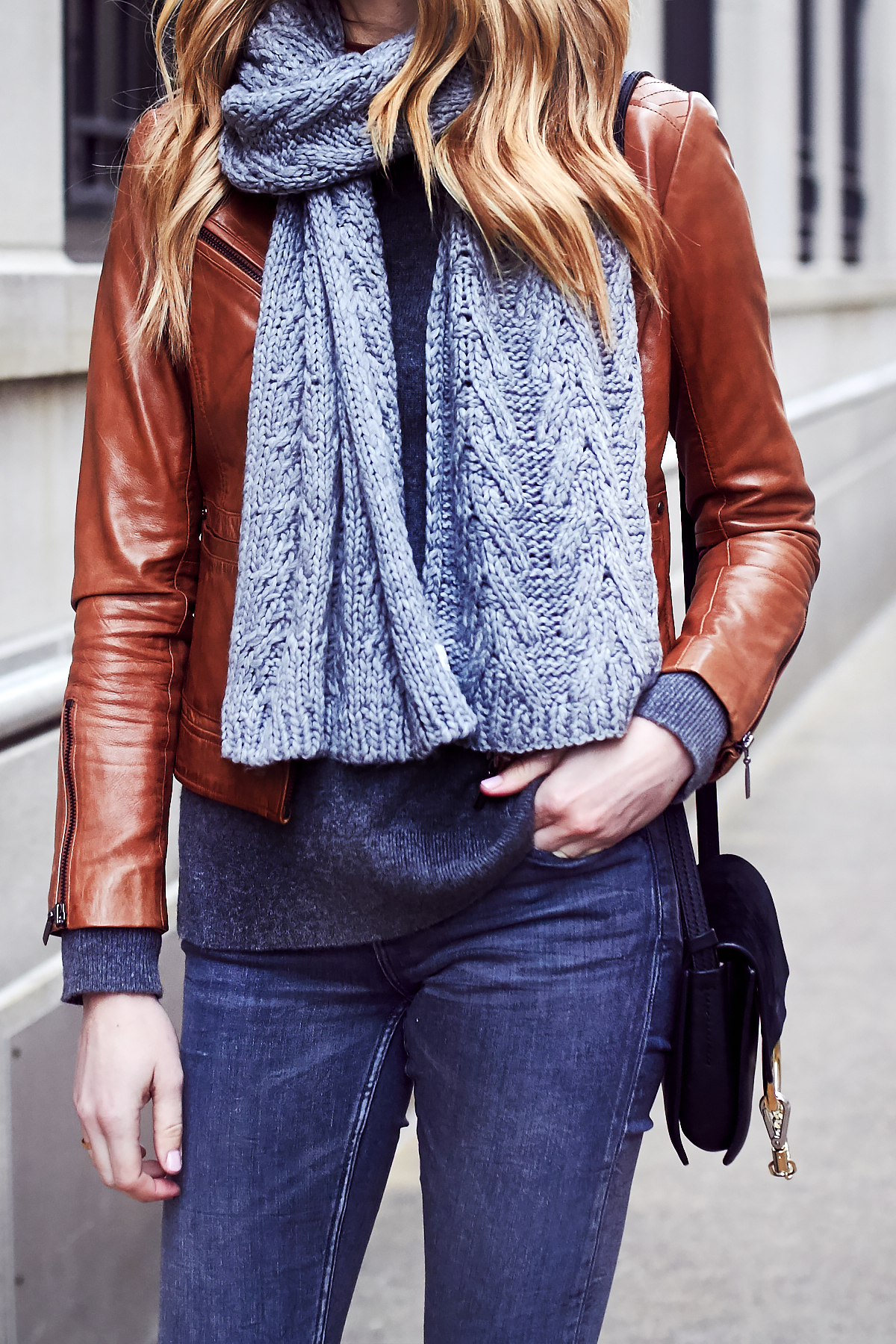 Fall Outfit, Winter Outfit, Grey Knit Scarf, Tan Faux Leather Jacket, Chloe Faye Handbag