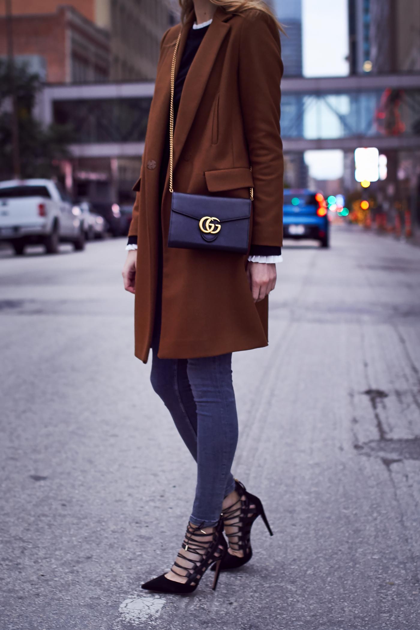 Fall Outfit, Camel Coat, Grey Skinny Jeans, Aquazzura Amazon Pumps, Gucci Marmont Handbag, Black Bell Sleeve Sweater