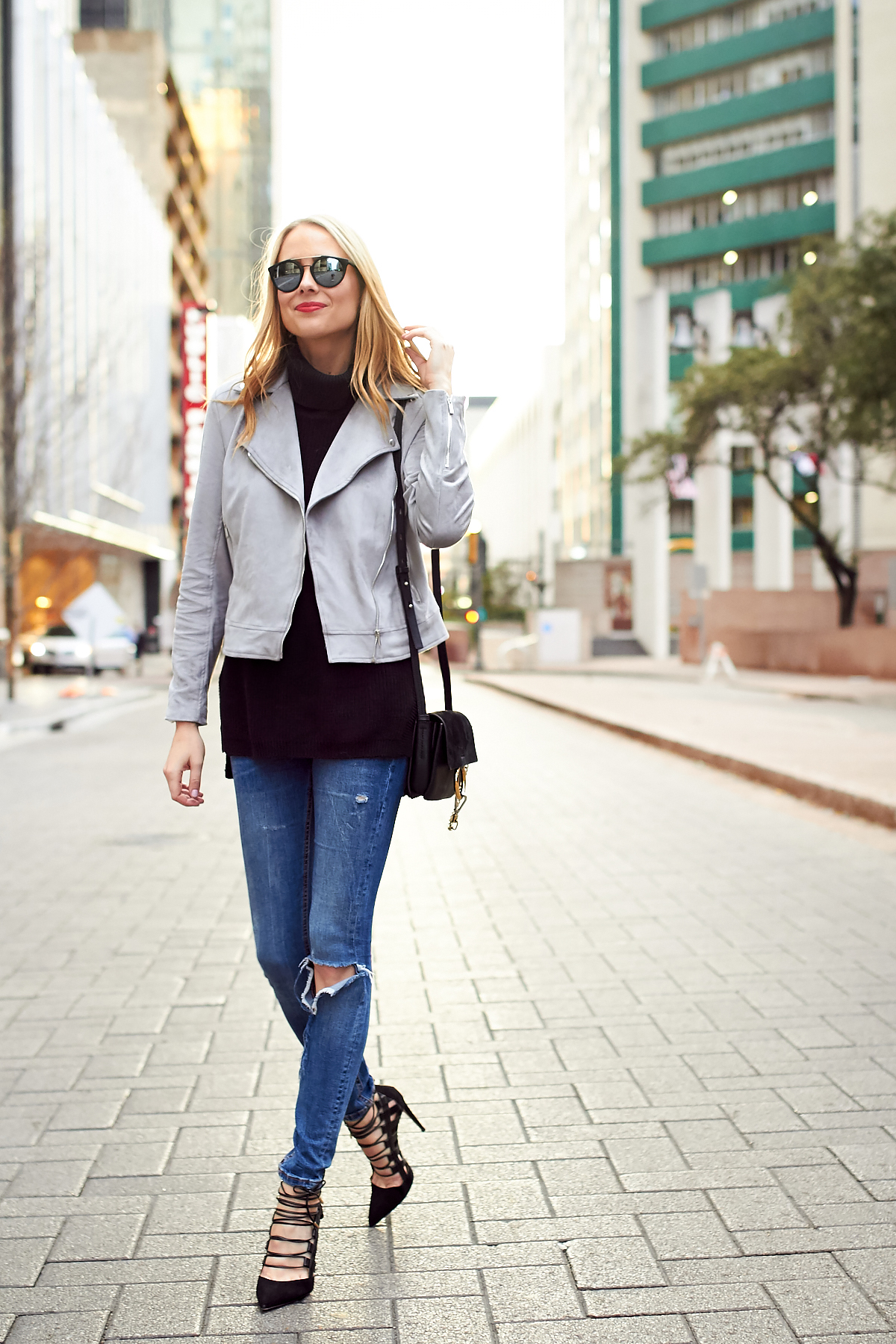 Fall Outfit, Grey Suede Moto Jacket, Black Turtleneck Sweater, Denim Ripped Skinny Jeans, Aquazzura Amazon Black Pumps, Chloe Faye Handbag