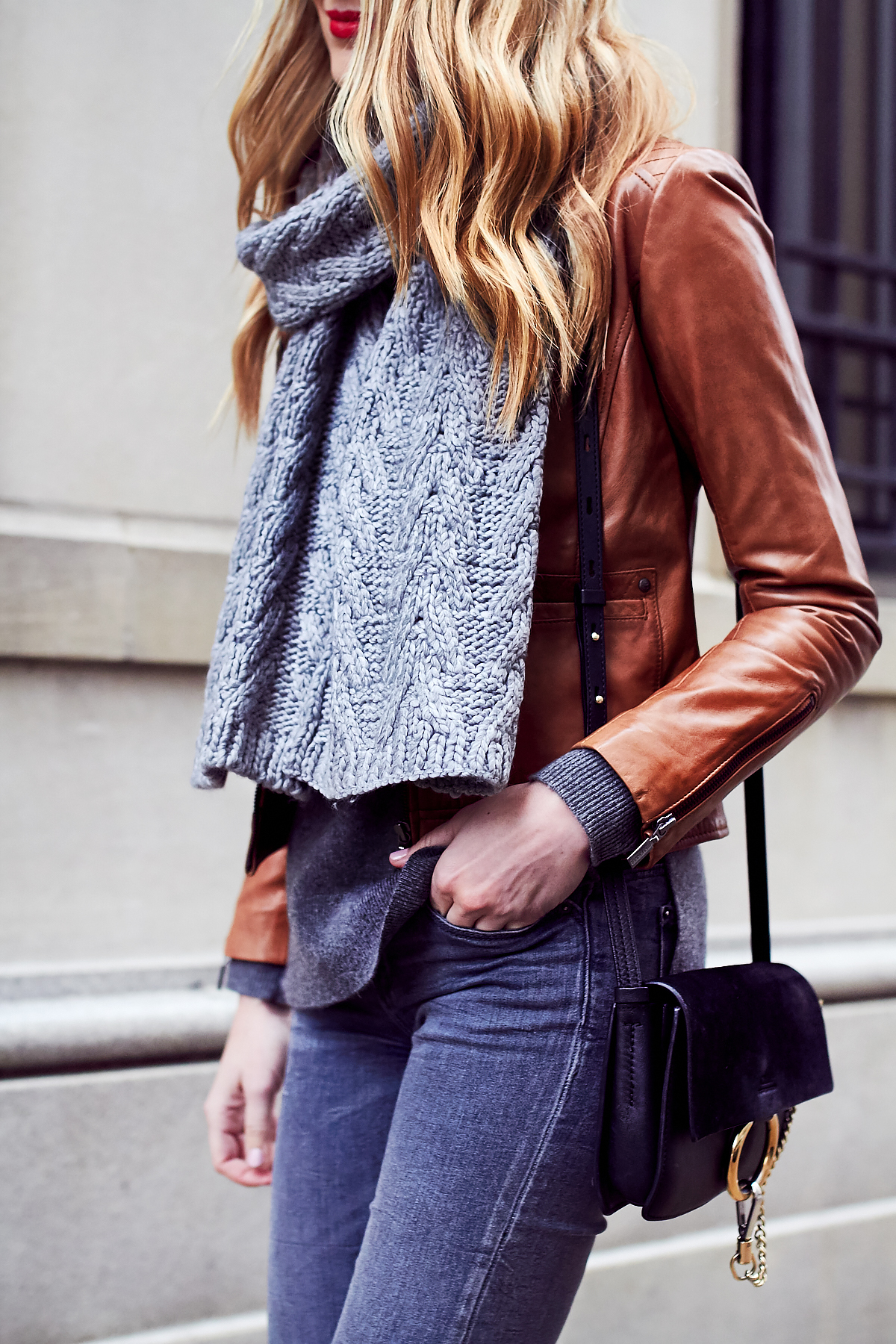 Fall Outfit, Winter Outfit, Grey Knit Scarf, Tan Faux Leather Jacket, Grey Skinny Jeans, Chloe Faye Handbag