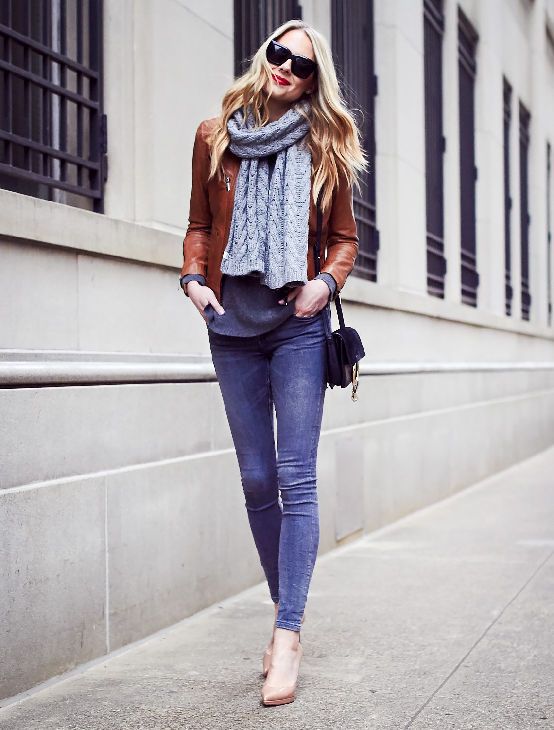 Fall Outfit, Winter Outfit, Grey Knit Scarf, Tan Faux Leather Jacket, Grey Skinny Jeans, Nude Pumps