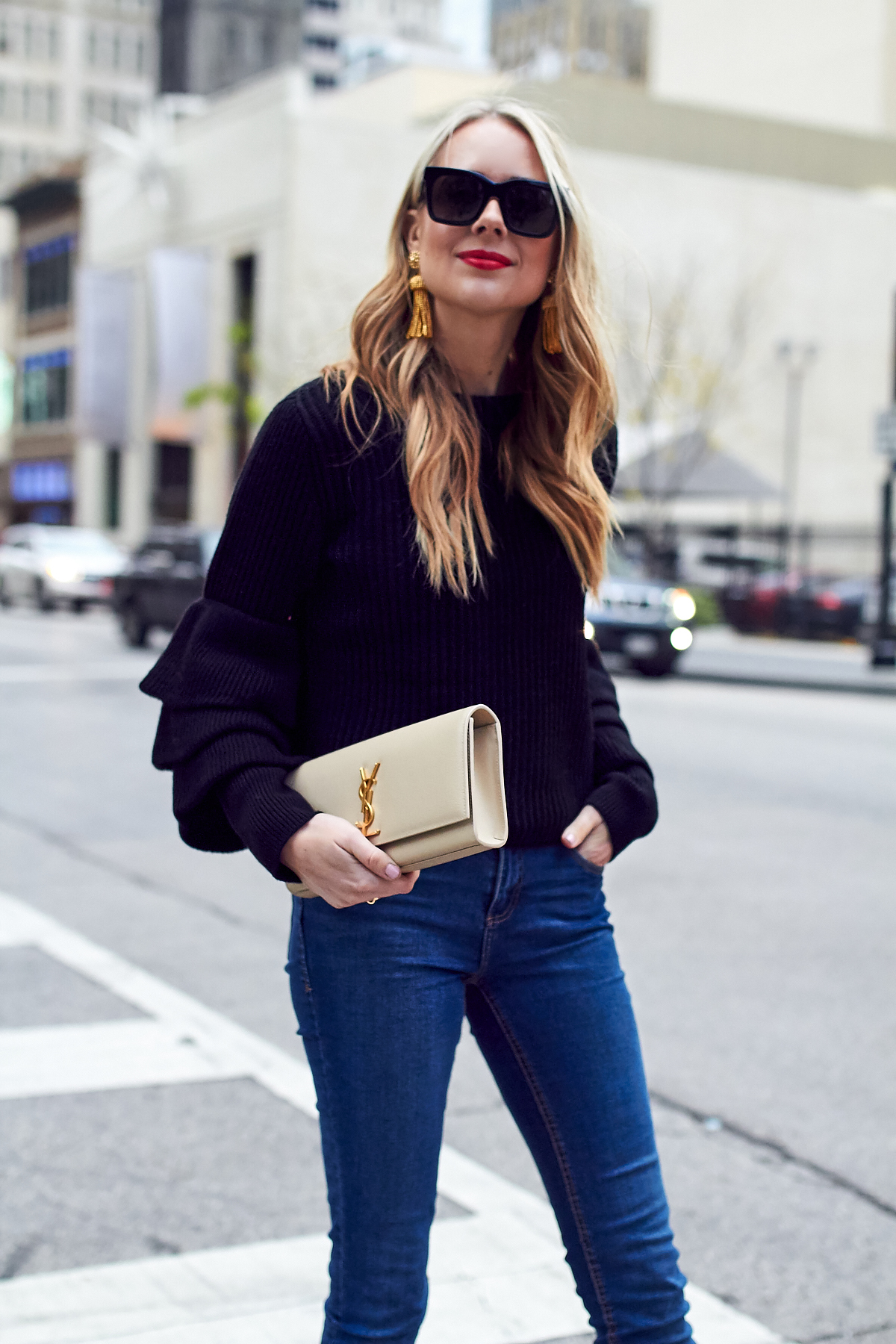 Fall Outfit, Winter Outfit, Ruffle Sleeve Sweater, Saint Laurent Clutch, Red Lipstick, Gold Tassel Earrings
