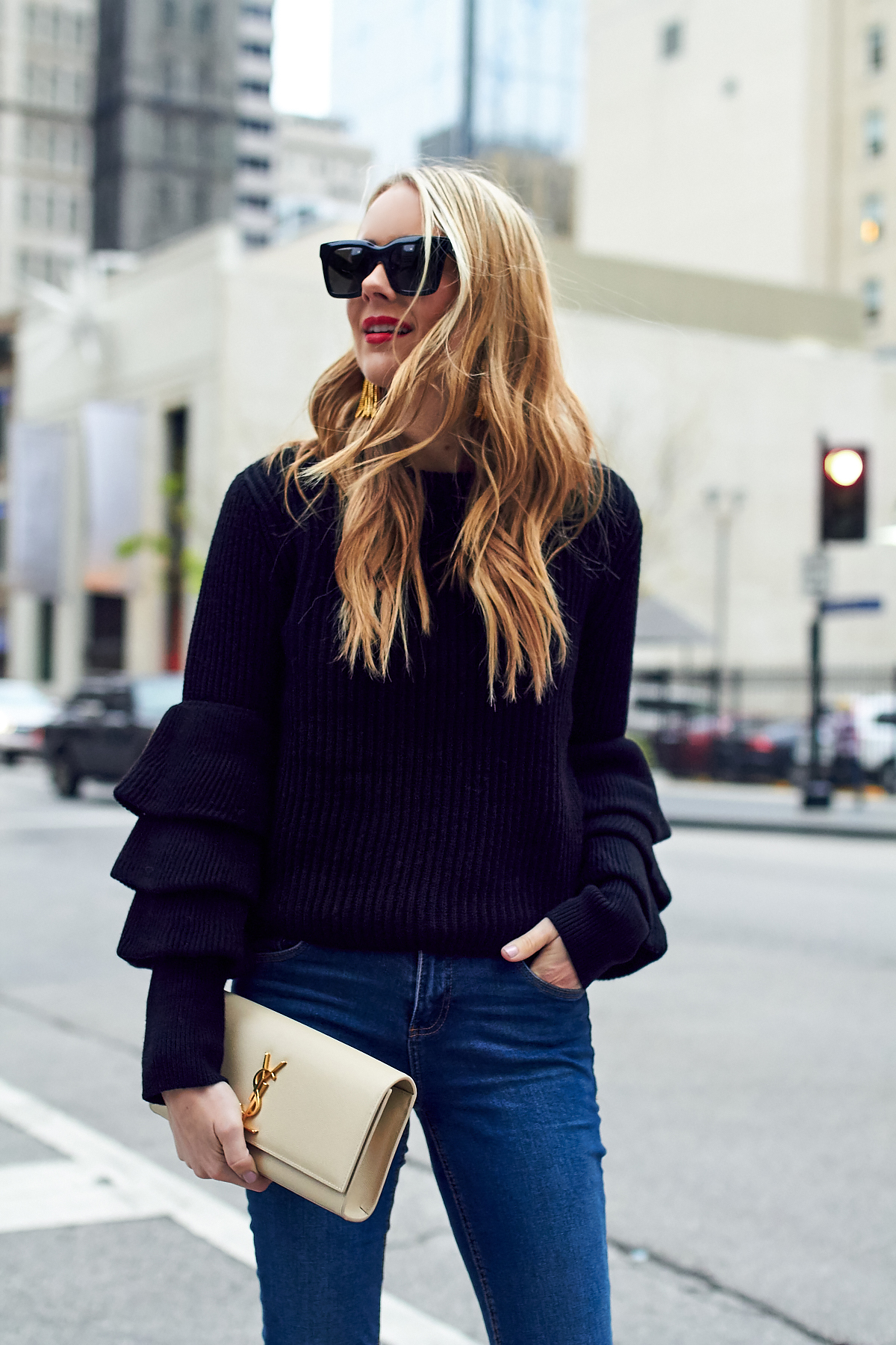 Fall Outfit, Winter Outfit, Ruffle Sleeve Sweater, Saint Laurent Clutch, Red Lipstick