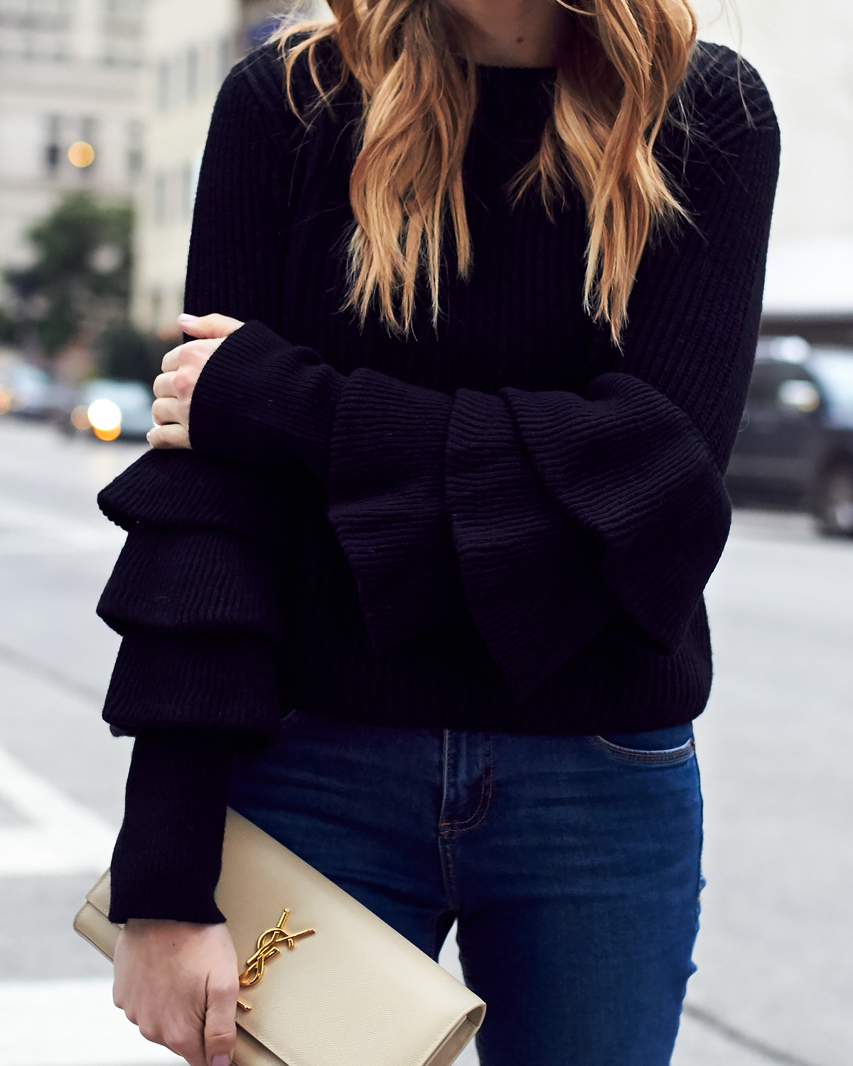 Fall Outfit, Winter Outfit, Ruffle Sleeve Sweater, Saint Laurent Clutch