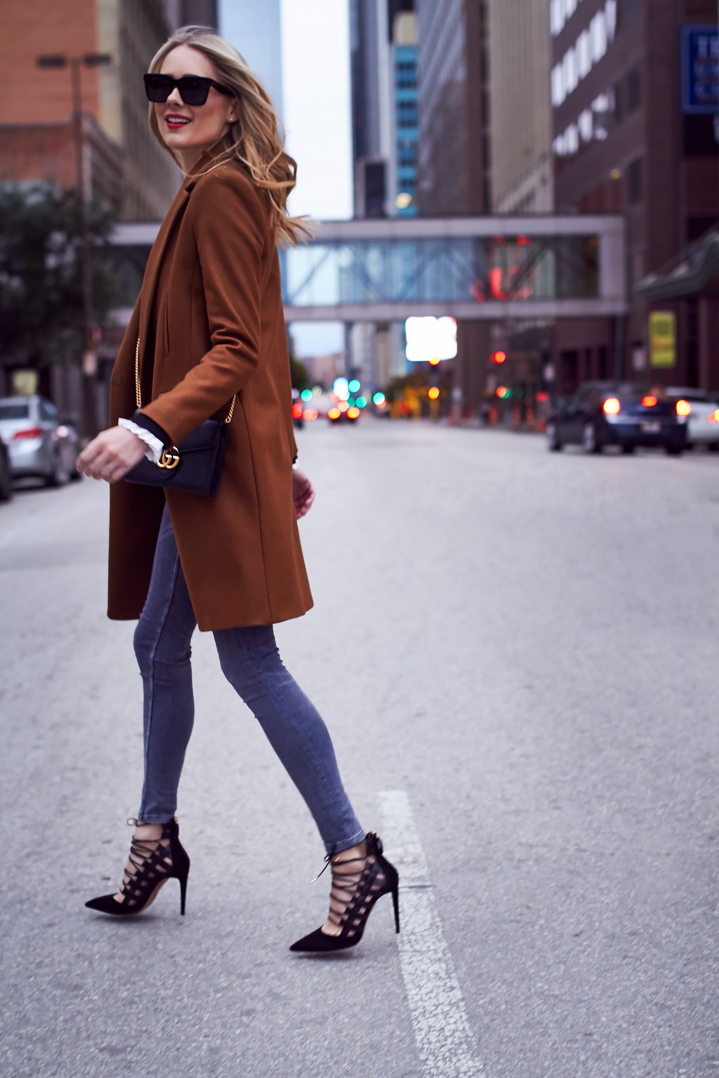 Fall Outfit, Camel Coat, Grey Skinny Jeans, Aquazzura Amazon Pumps