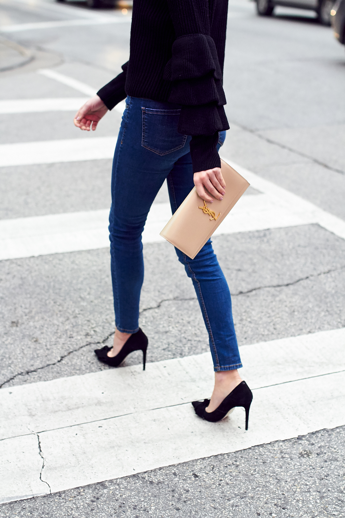 Fall Outfit, Winter Outfit, Ruffle Sleeve Sweater, Denim Skinny Jeans, Black Bow Pumps, Saint Laurent Clutch