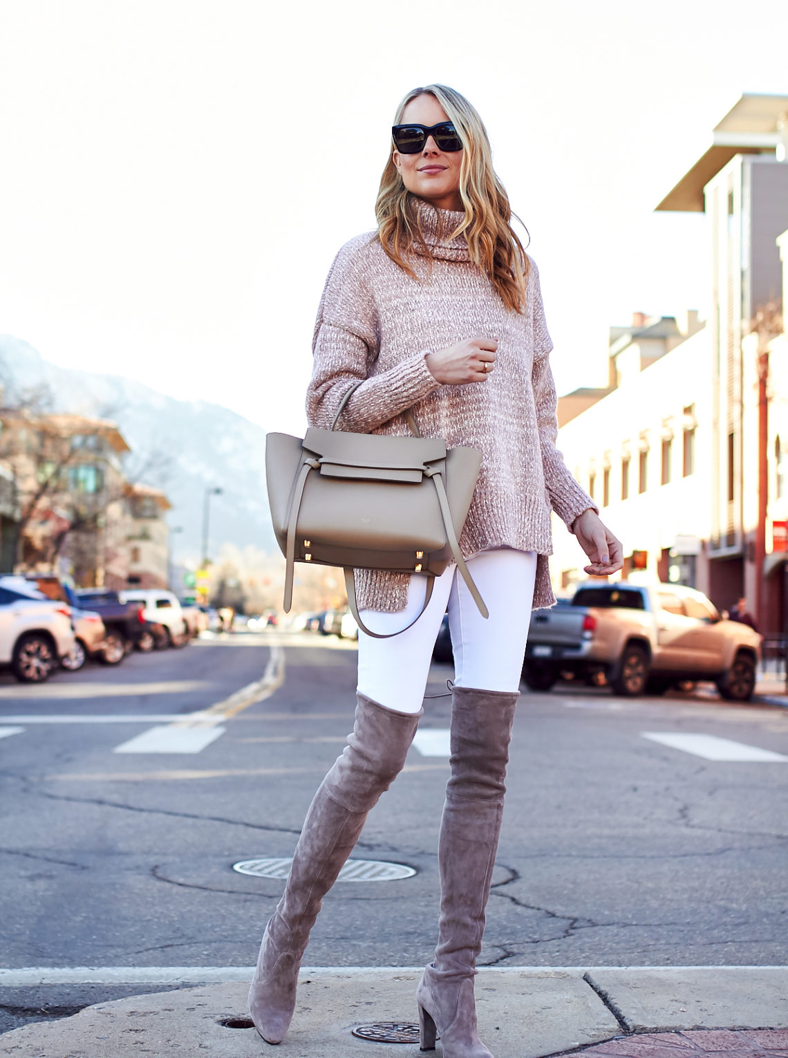 Winter Outfit, Stuart Weitzman Over the Knee Boots, Celine Tie Belt Bag, Blush Turtleneck Sweater