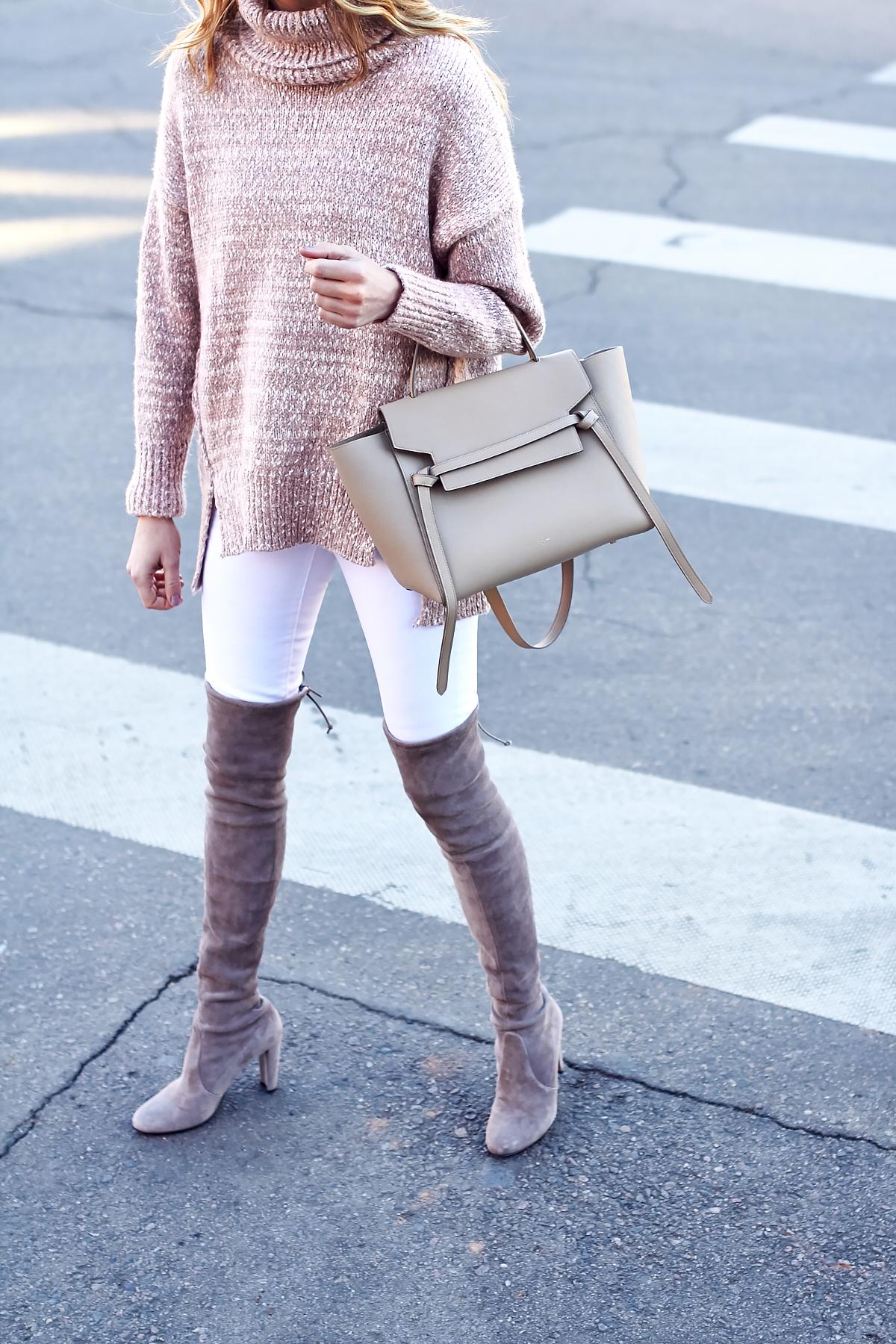 Winter Outfit, Stuart Weitzman Over the Knee Boots, Celine Tie Belt Bag, Blush Turtleneck Sweater
