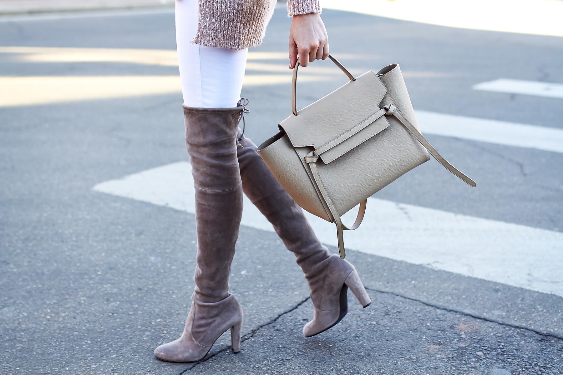 Winter Outfit, Stuart Weitzman Over the Knee Boots, Celine Tie Belt Bag