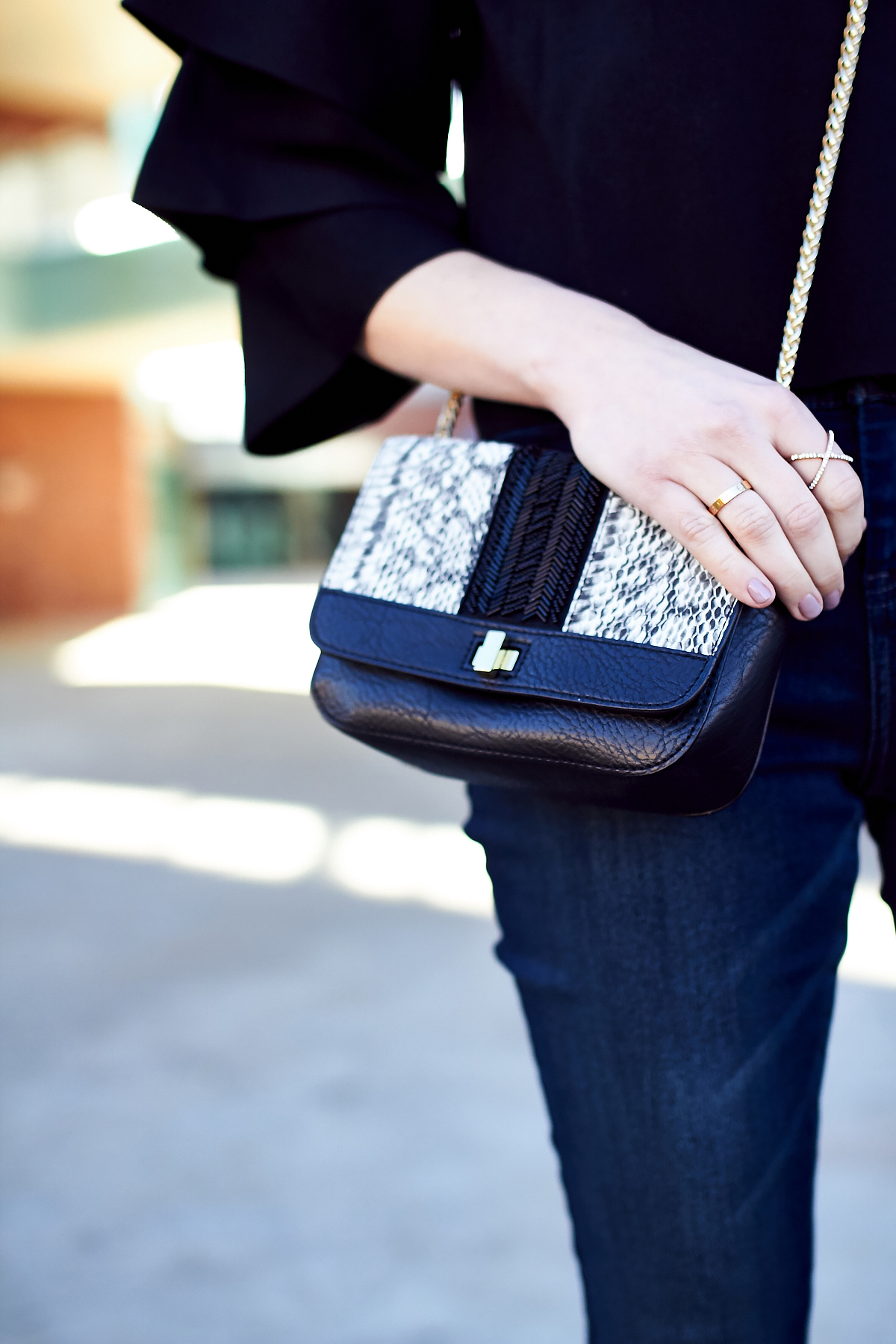 New Year's Eve Outfit, Embellished Handbag, Black Ruffle Sleeve Top