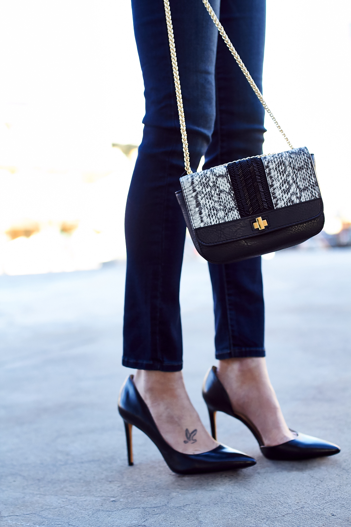 New Year's Eve Outfit, Embellished Handbag, Black Pumps