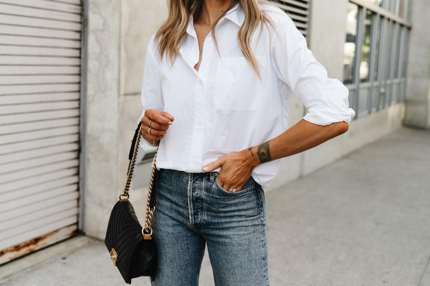 Fashion Jackson Wearing Jenni Kayne White Button Up Shirt Jeans Chanel Black Boy Bag