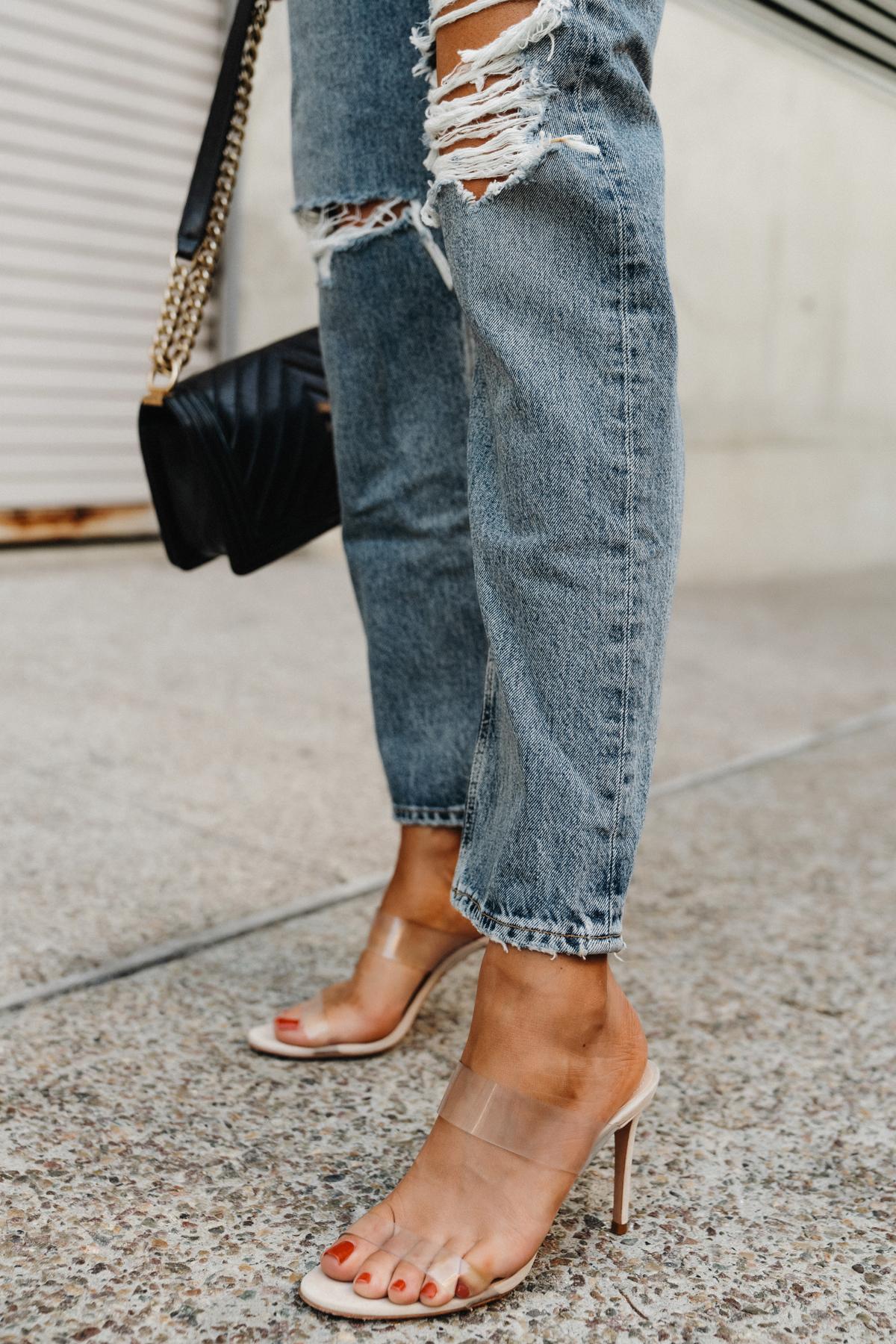 Fashion Jackson Wearing Schutz Ariella Sandals AGOLDE Ripped Jeans