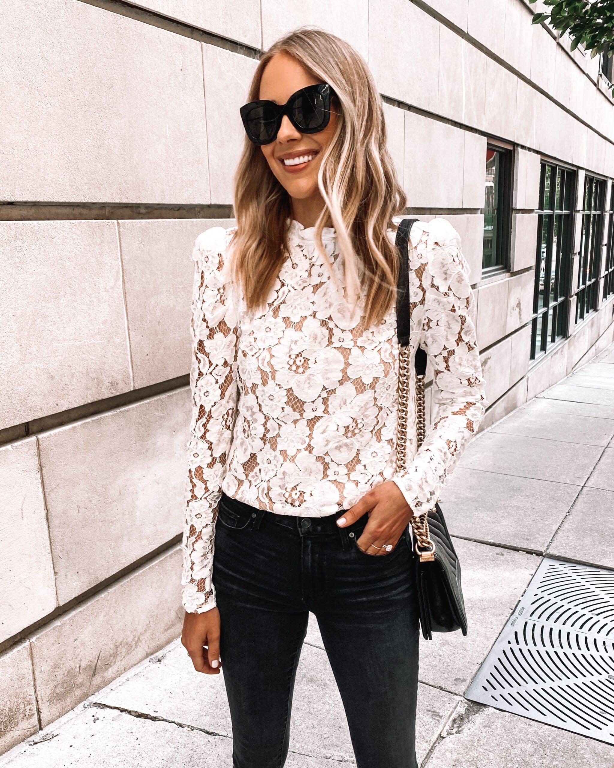 Fashion Jackson Wearing WAYF Emma White Lace Top Black Skinny Jeans