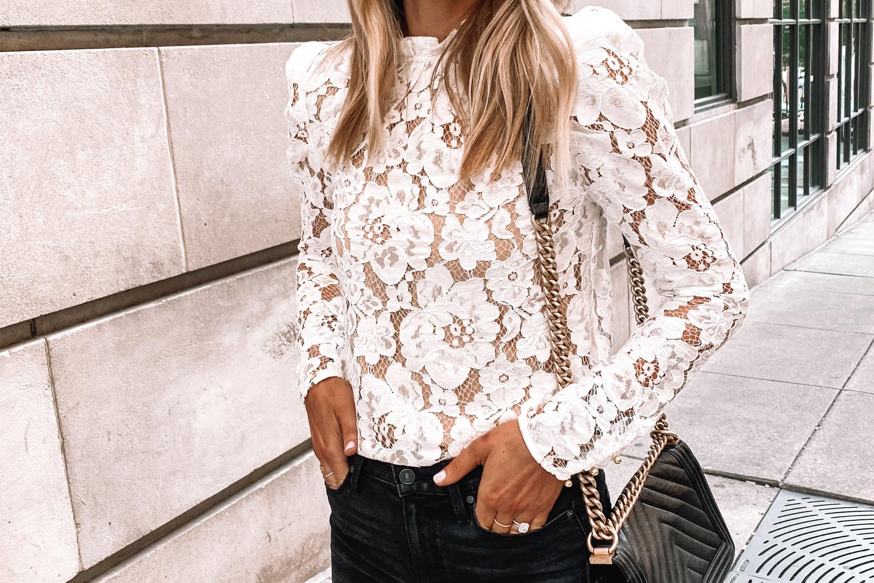 Fashion Jackson Wearing WAYF Emma White Lace Top