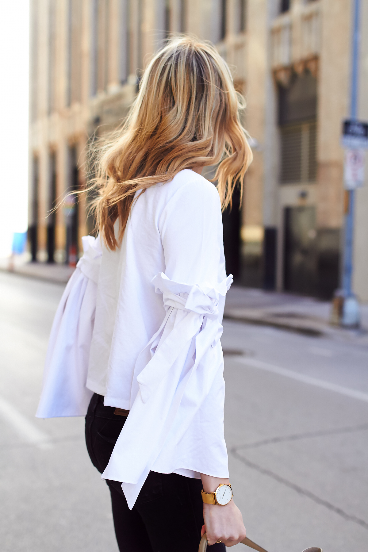 Fall Outfit, White Ruffle Sleeve Top