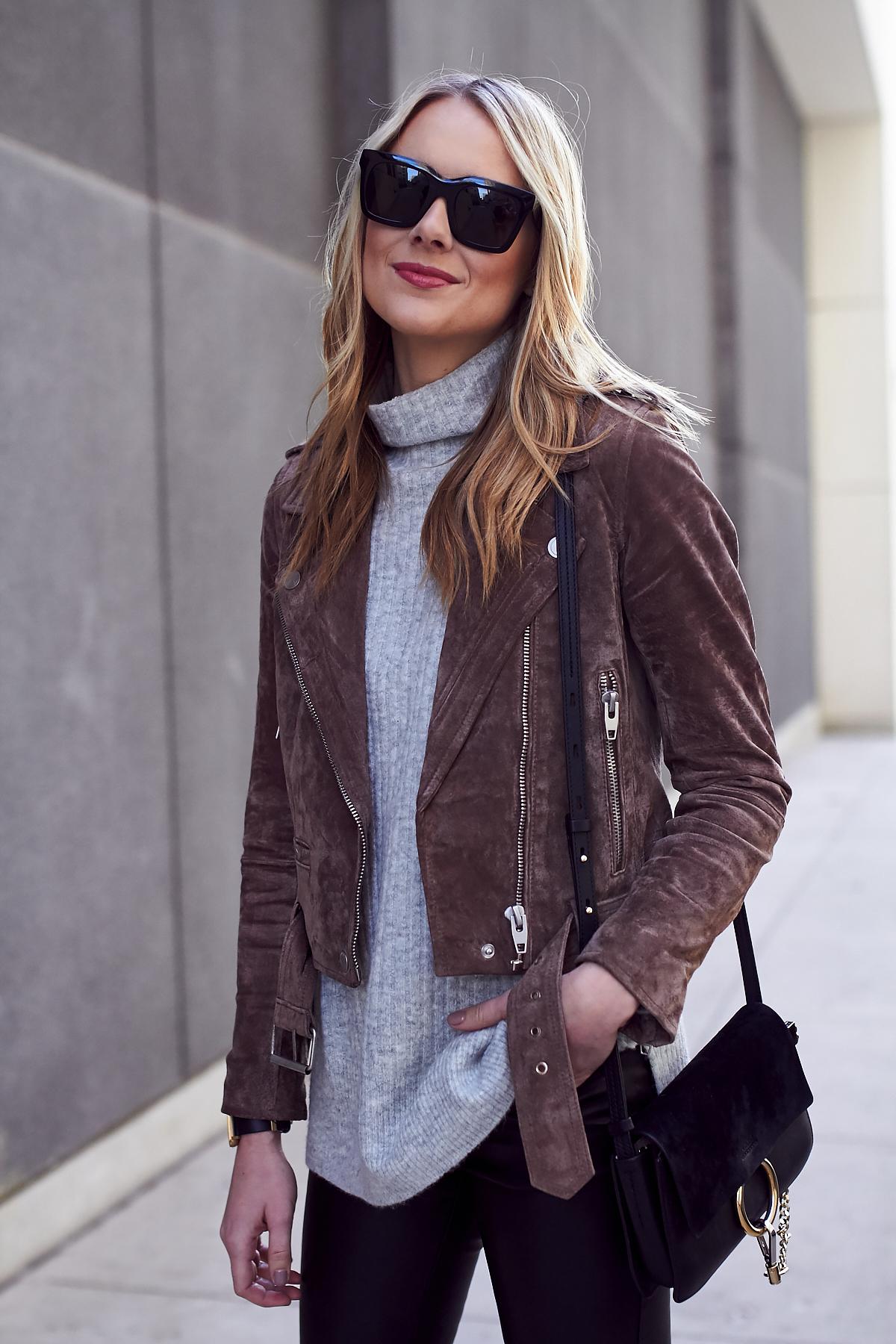Fall Outfit, Brown Suede Moto Jacket, Grey Sweater, Chloe Faye Handbag