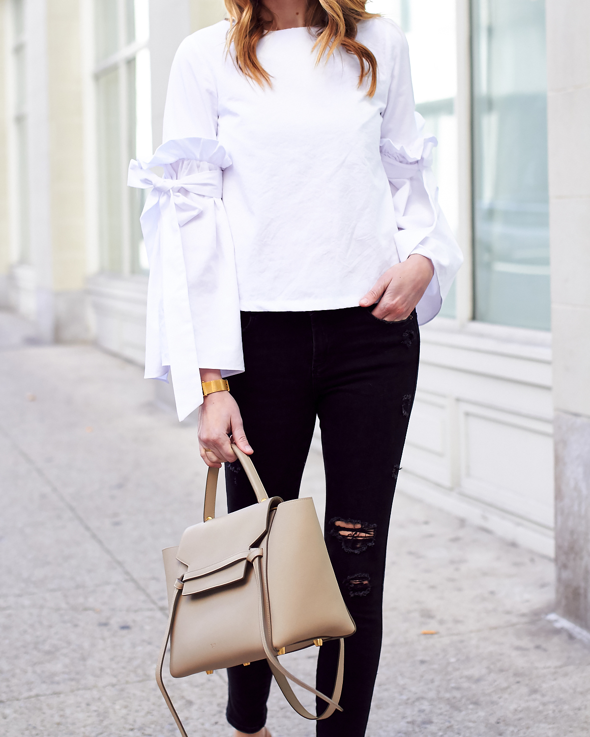 Fall Outfit, White Ruffle Sleeve Top, Black Ripped Skinny Jeans, Celine Tie Belt Bag