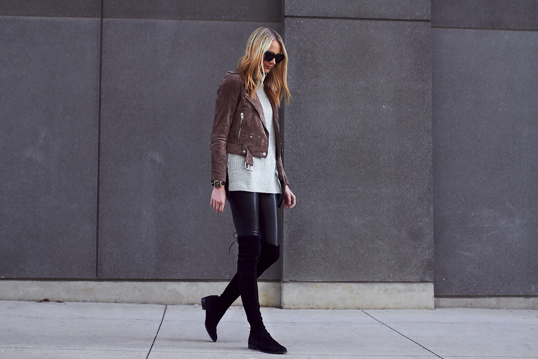 Fall Outfit, Brown Suede Moto Jacket, Grey Sweater, Stuart Weitzman Lowland Black Boots