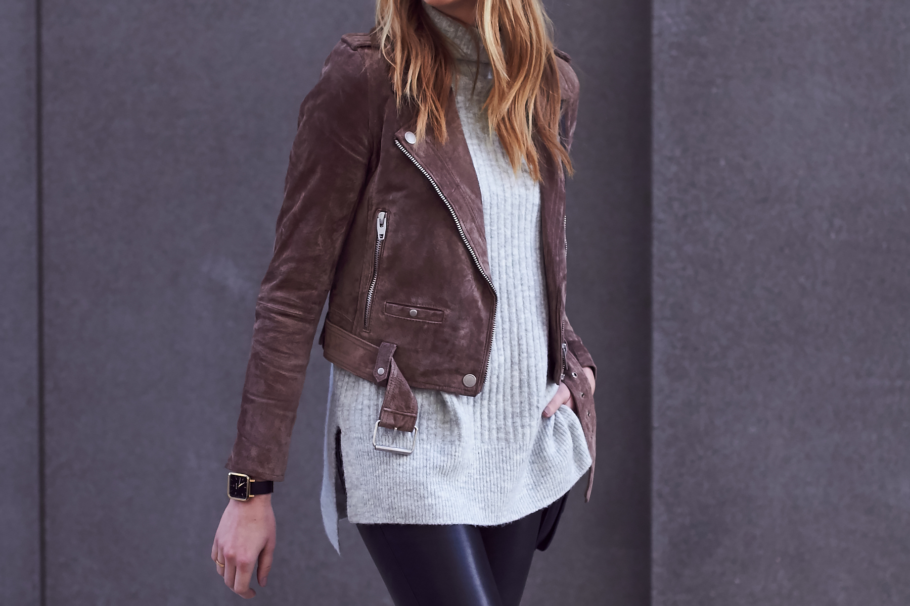 Fall Outfit, Brown Suede Moto Jacket, Grey Sweater