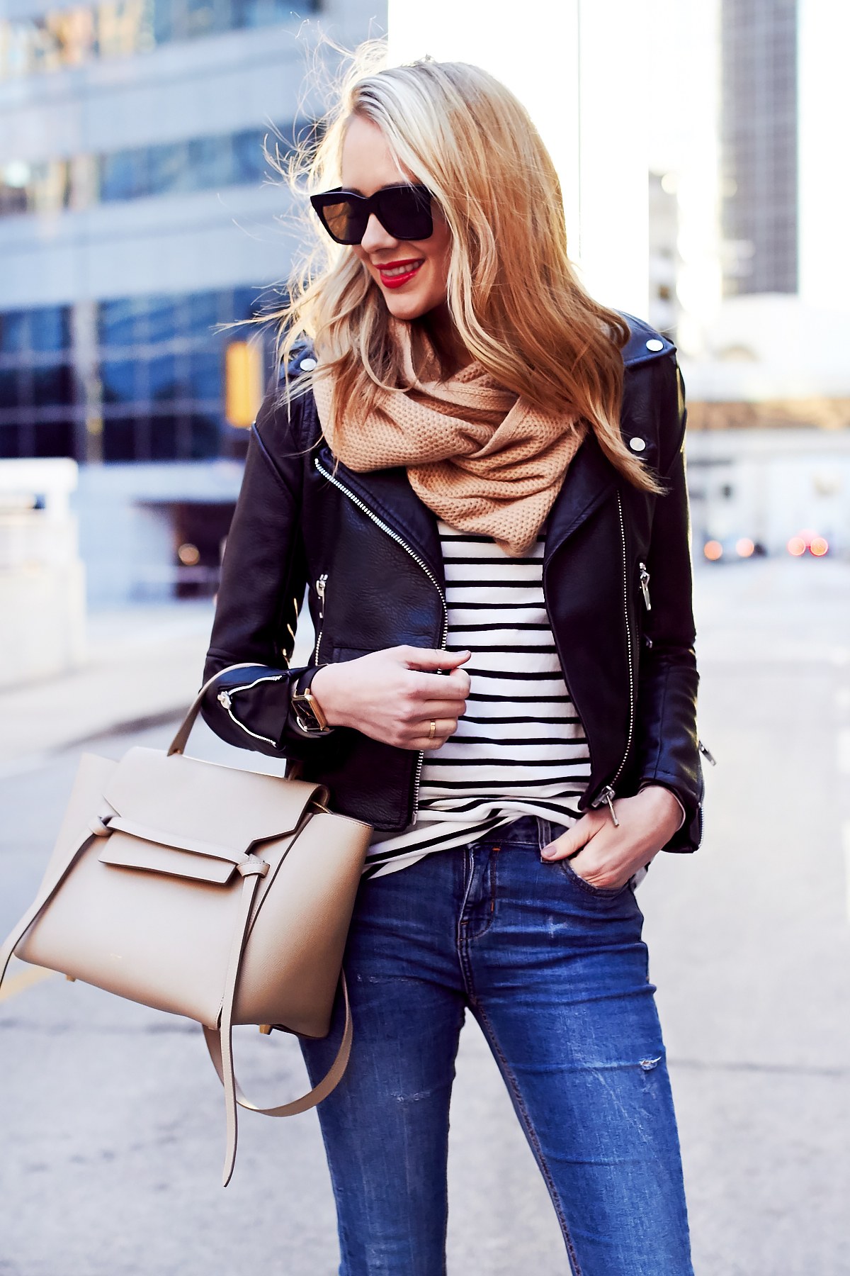 Fall Outfit, Casual Layers, Faux Leather Black Jacket, Black & White Stripe Tee, Ripped Denim Skinny Jeans, Celine Tie Belt Bag