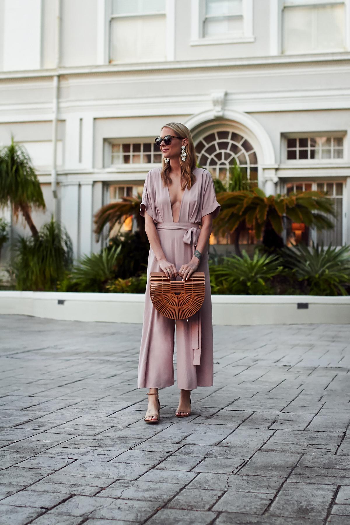 Summer Outfit, Beach Vacation, Tropical Vacation, Mara Hoffman Pink Jumpsuit, Cult Gaia Handbag