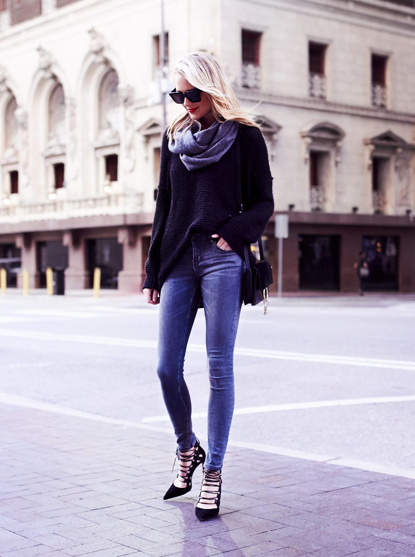 Fall Outfit, Winter Outfit, Black Oversized Sweater, Grey Skinny Jeans, Aquazzura Amazon Heels, Chloe Faye Handbag, Grey Infinity Scarf