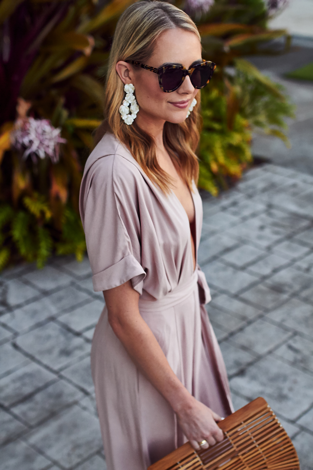 Summer Outfit, Beach Vacation, Tropical Vacation, Mara Hoffman Pink Jumpsuit, Cult Gaia Handbag, J.Crew White Sequin Earrings