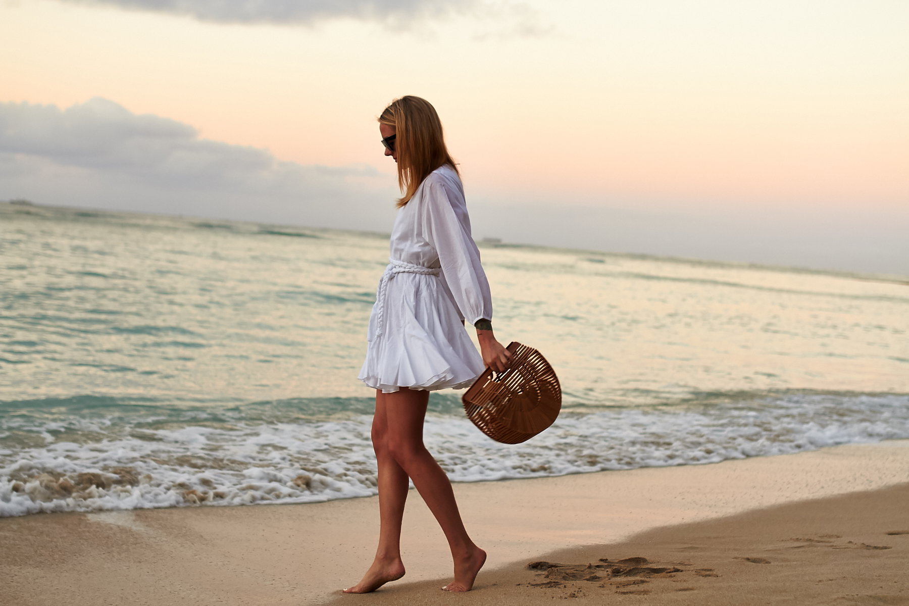 Beach Outfit, Little White Dress, Rhode Resort Ella Dress, Cult Gaia Handbag