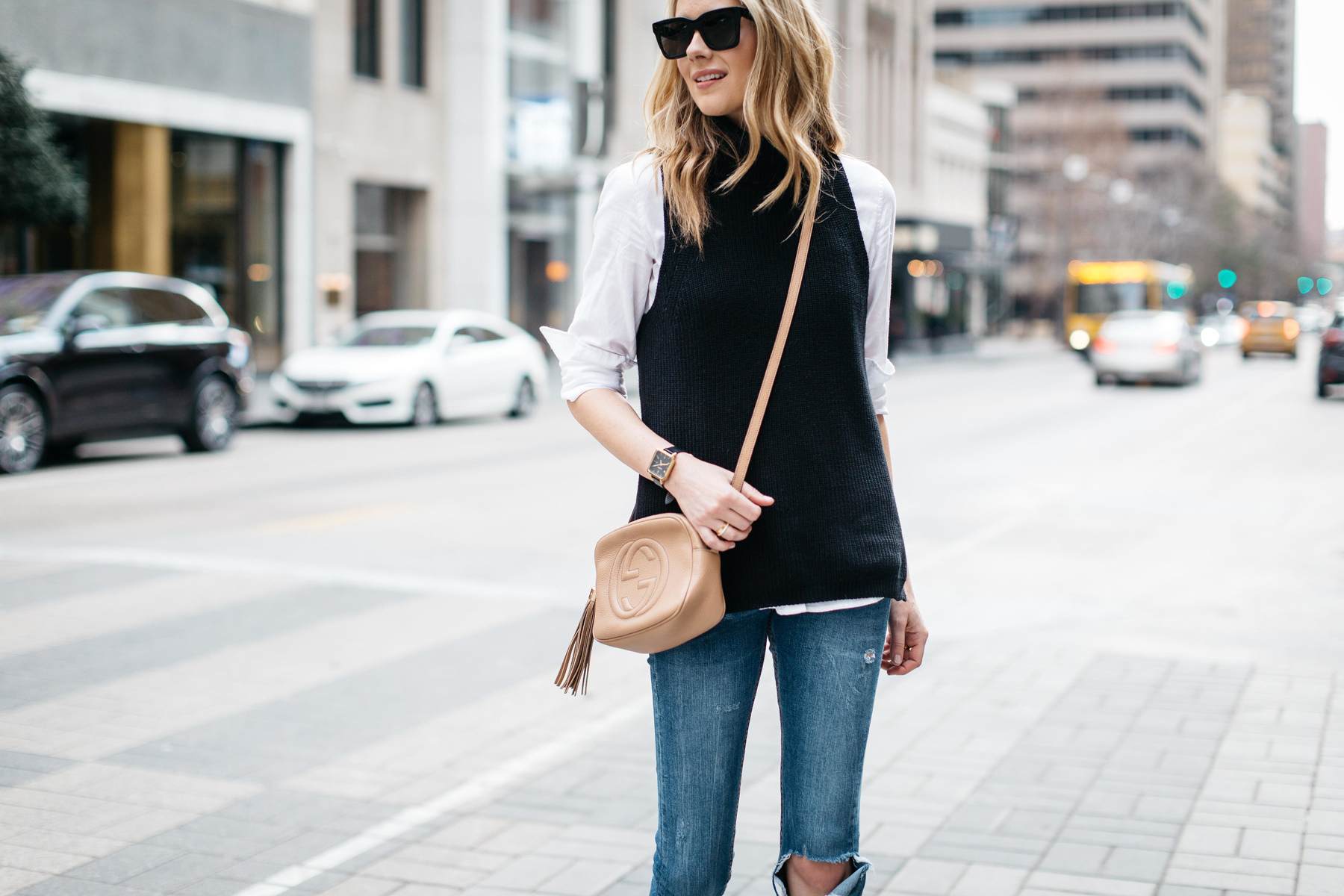 Fall Outfit, Winter Outfit, White Button Down Shirt, Black Sleeveless Turtleneck Sweater, Denim Ripped Skinny Jeans, Gucci Soho Handbag