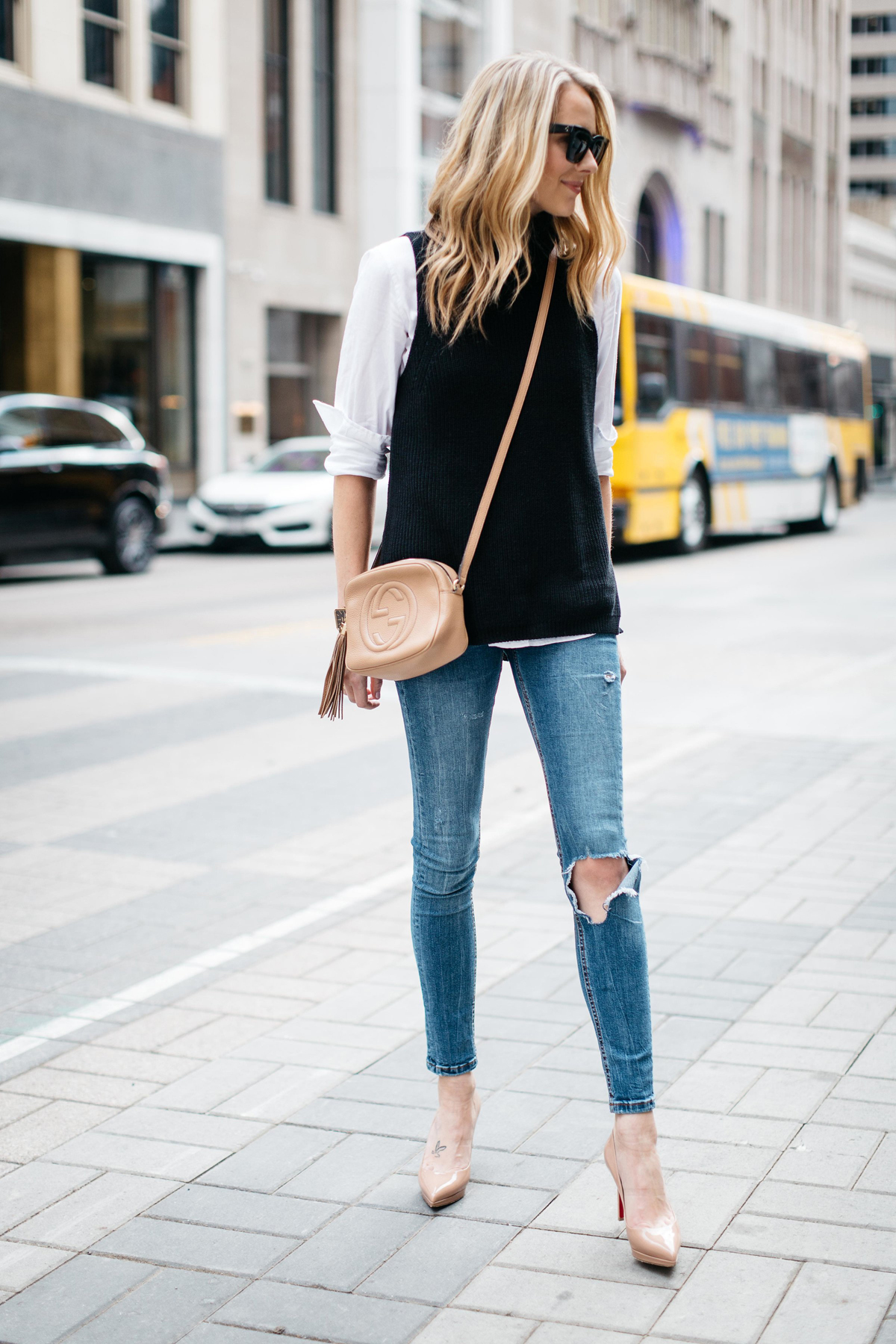 Fall Outfit, Winter Outfit, White Button Down Shirt, Black Sleeveless Turtleneck Sweater, Denim Ripped Skinny Jeans, Gucci Soho Handbag, Nude Pumps