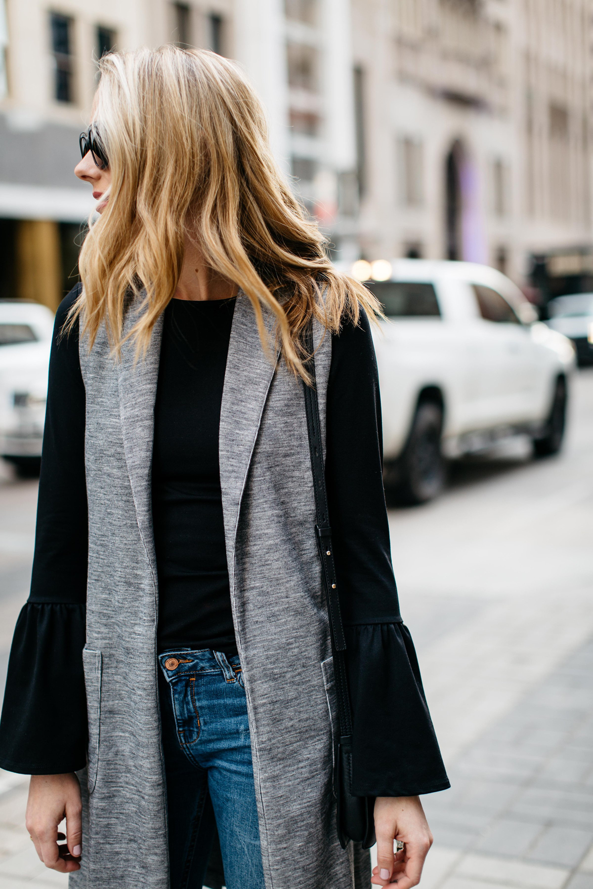 Fall Outfit, Winter Outfit, Long Grey Vest, Black Bell Sleeve Top