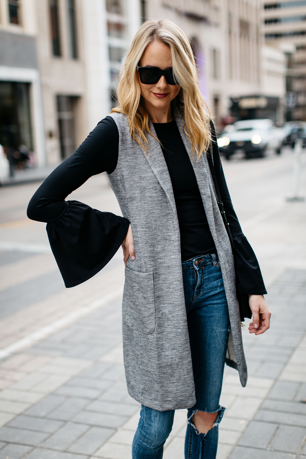 Fall Outfit, Winter Outfit, Long Grey Vest, Black Bell Sleeve Top, Denim Ripped Skinny Jeans