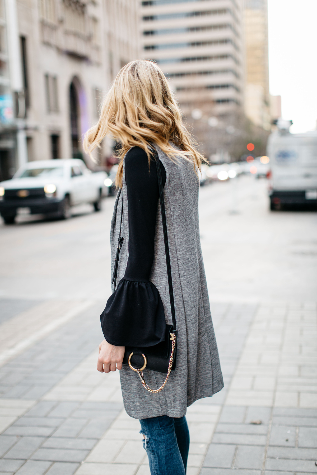 Fall Outfit, Winter Outfit, Long Grey Vest, Black Bell Sleeve Top, Chloe Faye Handbag