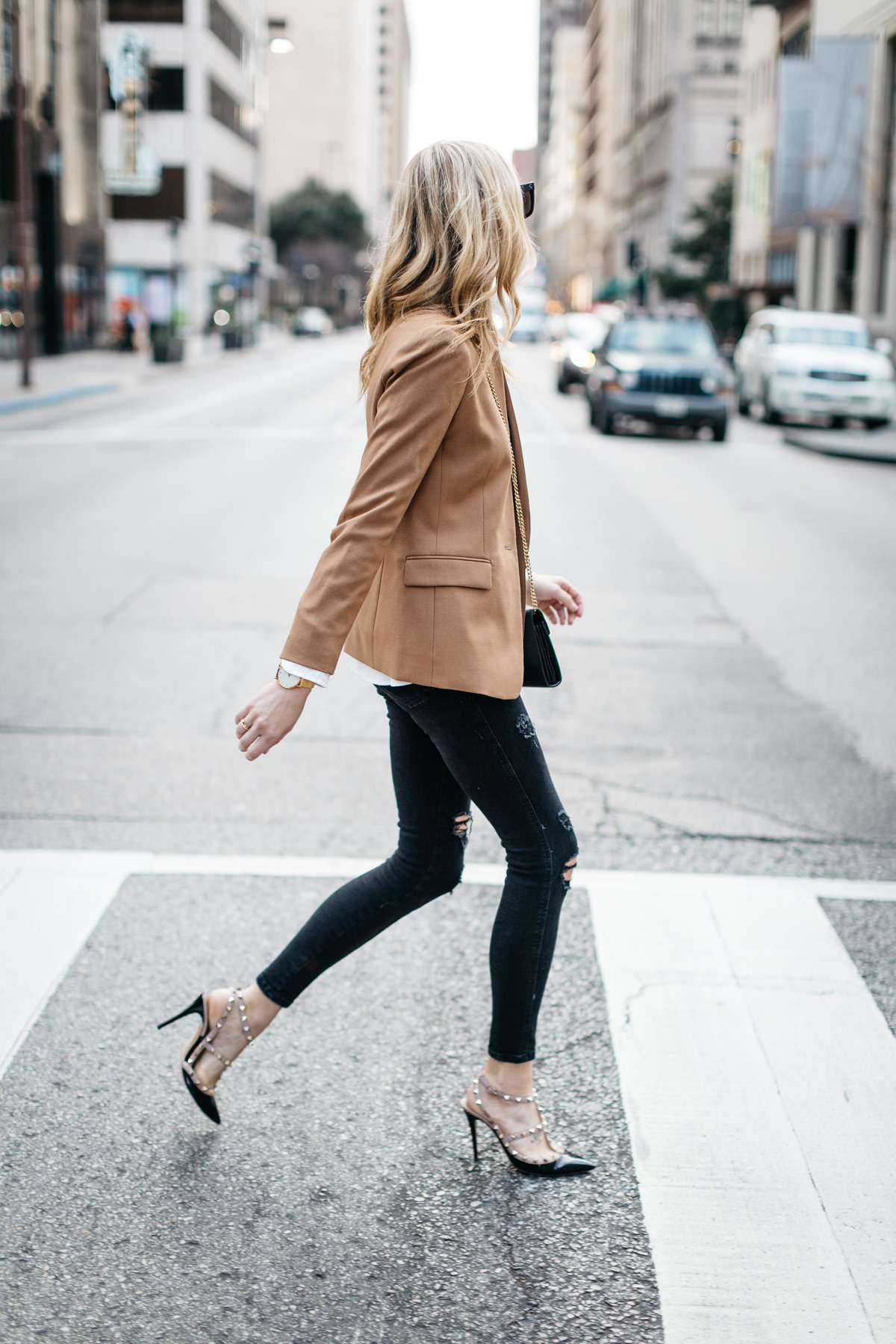 Fall Outfit, Winter Outfit, White Button-Down Shirt, Camel Blazer, Gucci Marmont Handbag, Black Ripped Skinny Jeans, Valentino Rockstud Pumps