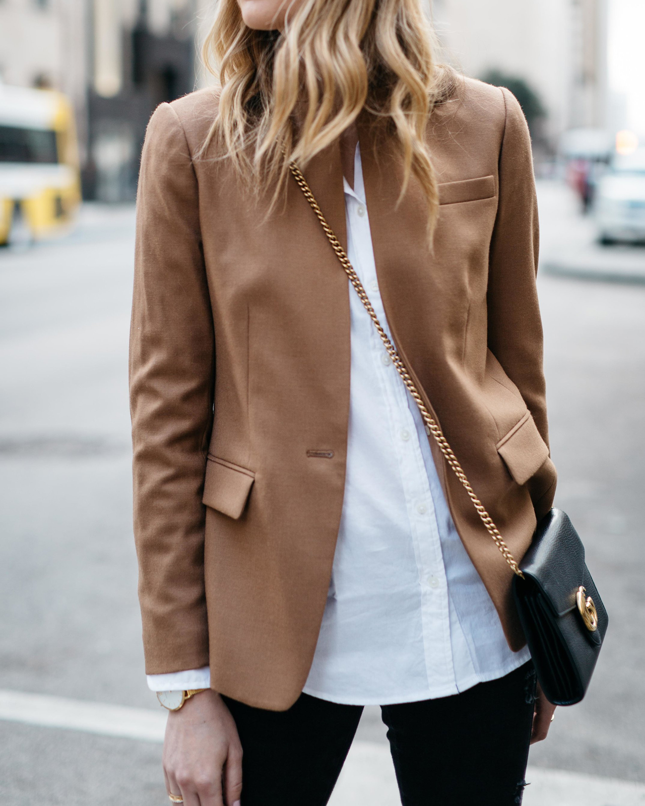 Fall Outfit, Winter Outfit, White Button-Down Shirt, Camel Blazer, Gucci Marmont Handbag