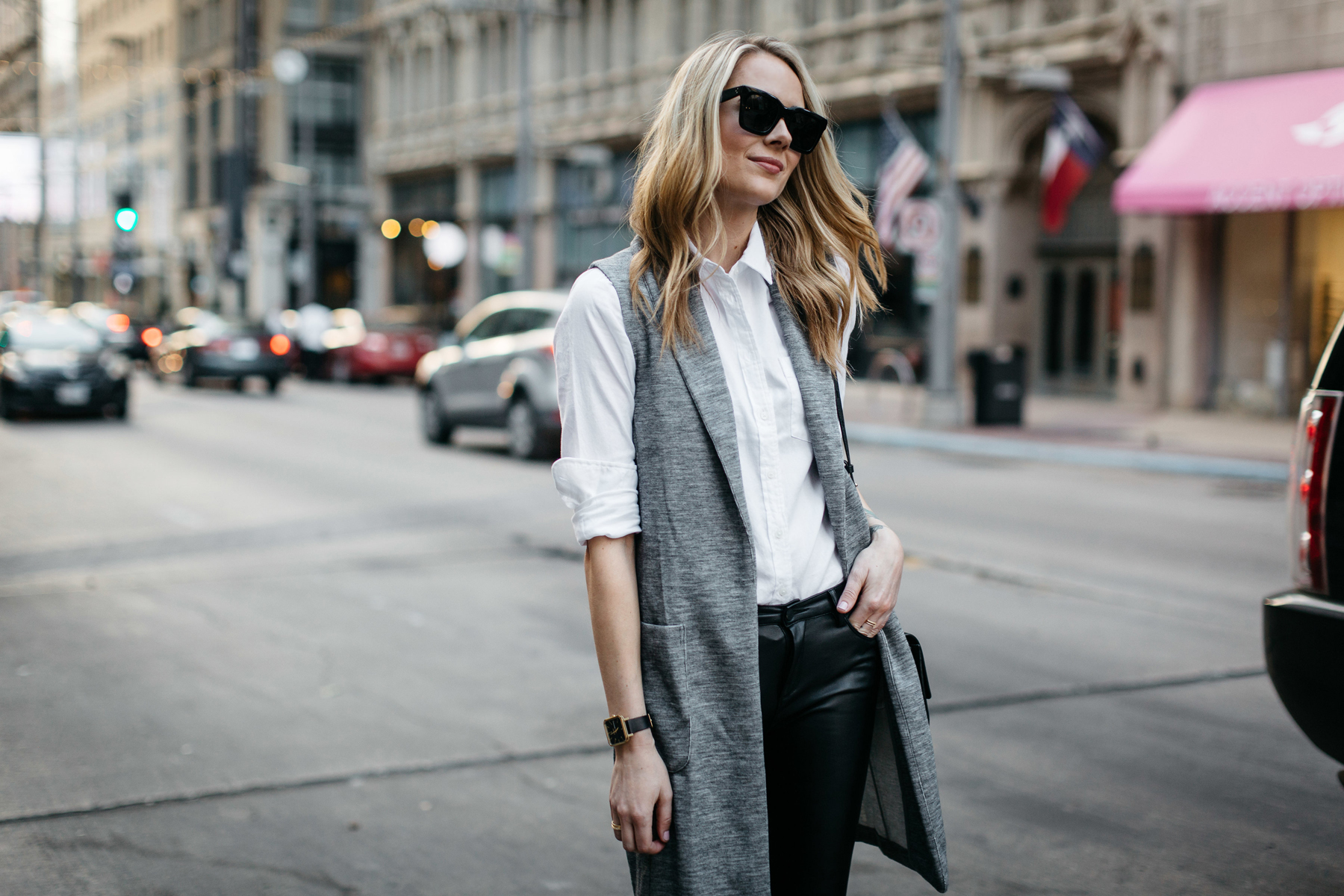 Fall Outfit, Winter Outfit, White Button-Down Shirt, Long Grey Vest, Faux Leather Black Pants