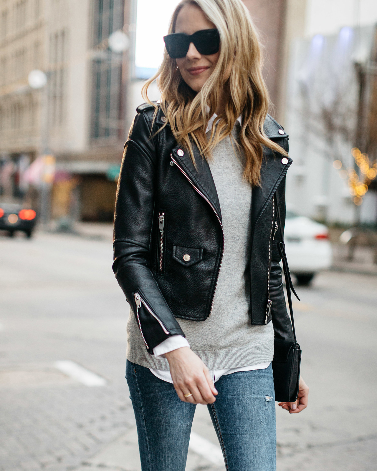 Fall Outfit, Winter Outfit, Black Leather Jacket, Grey Sweater, White Button-Down Shirt, Denim Ripped Skinny Jeans