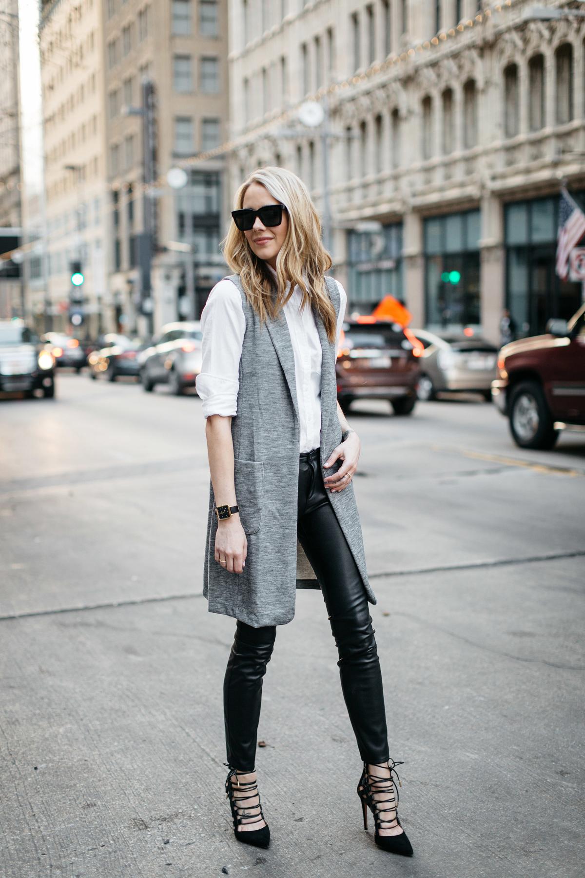 Fall Outfit, Winter Outfit, White Button-Down Shirt, Long Grey Vest, Faux Leather Black Pants, Chloe Faye Handbag, Aquazzura Amazon Pumps