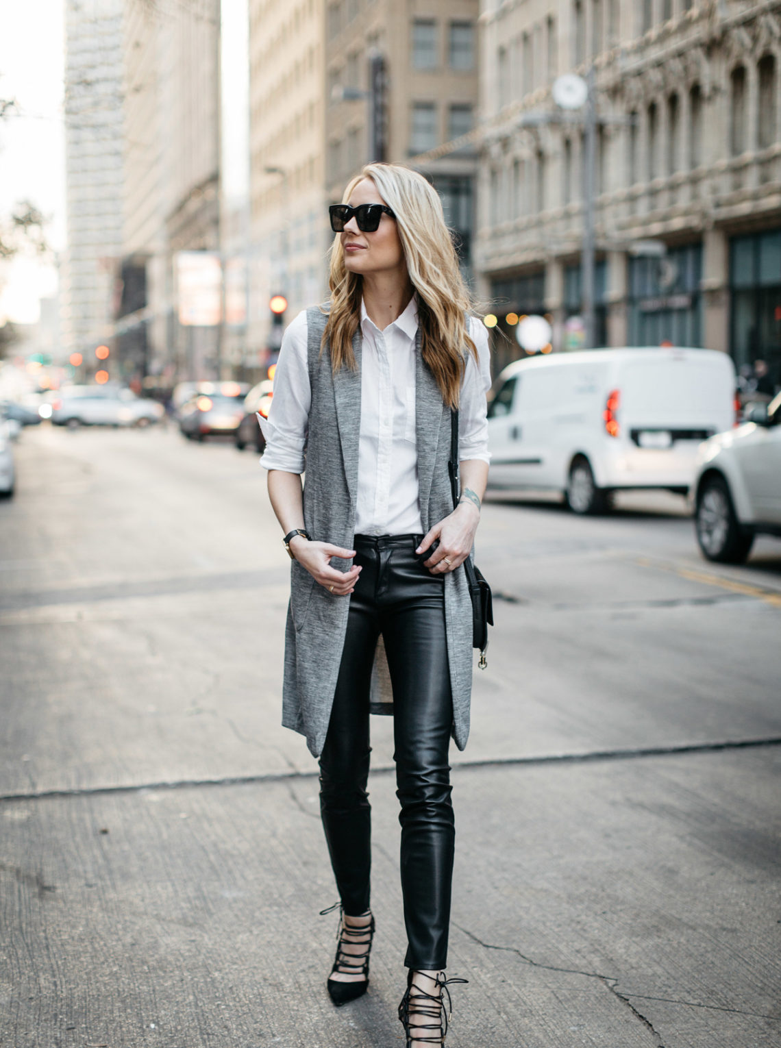 Fall Outfit, Winter Outfit, White Button-Down Shirt, Long Grey Vest, Faux Leather Black Pants, Chloe Faye Handbag, Aquazzura Amazon Pumps