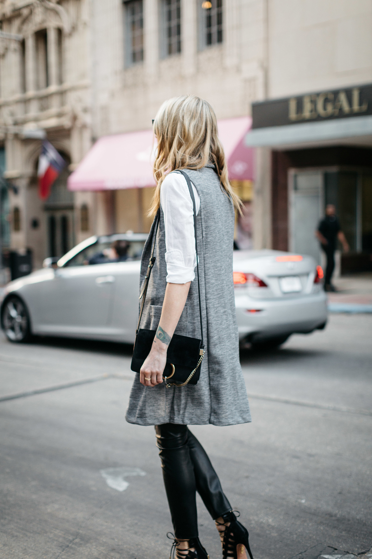 Fall Outfit, Winter Outfit, White Button-Down Shirt, Long Grey Vest, Faux Leather Black Pants, Chloe Faye Handbag