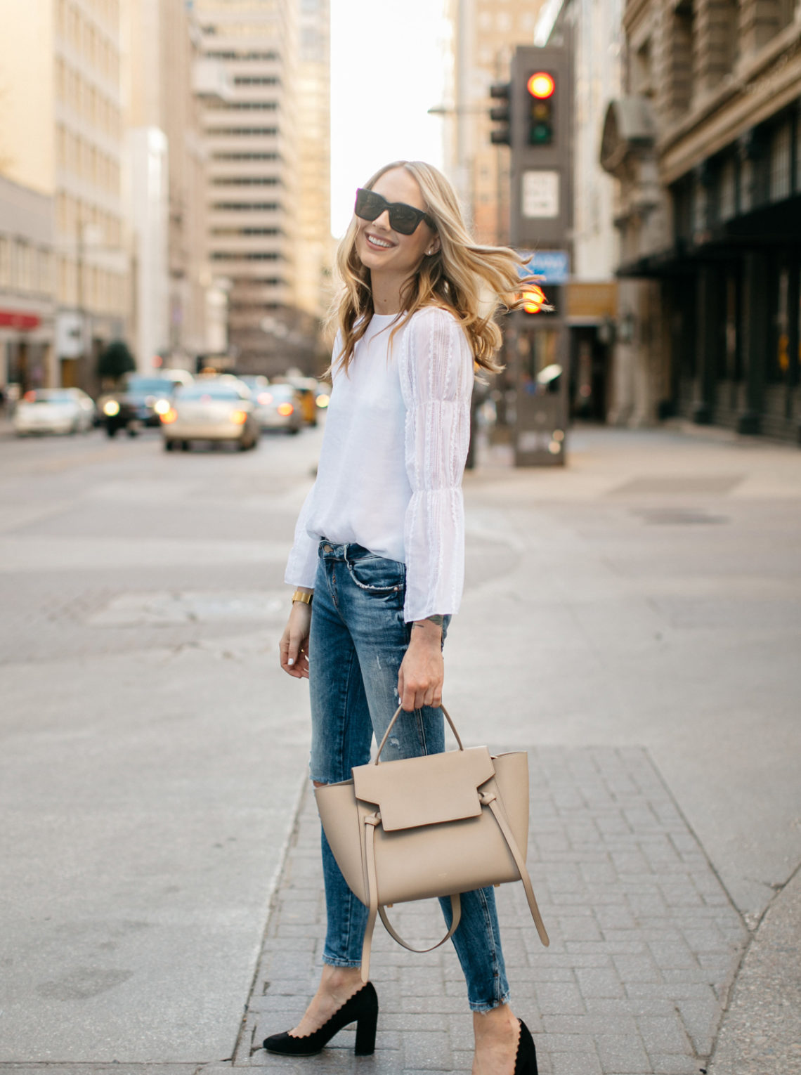 Spring Outfit, Club Monaco White Lace Top, Celine Belt Tie Handbag, Denim Ripped Skinny Jeans, Chloe Scallop Pumps