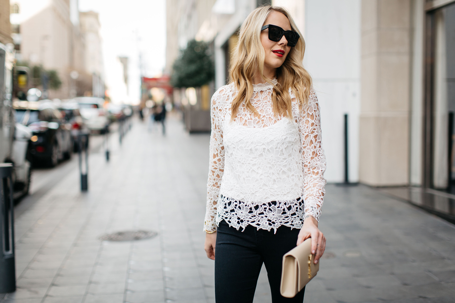 Fall Outfit, Winter Outfit, White Lace Long Sleeve Top, Black Skinny Jeans, Saint Laurent Monogram Clutch