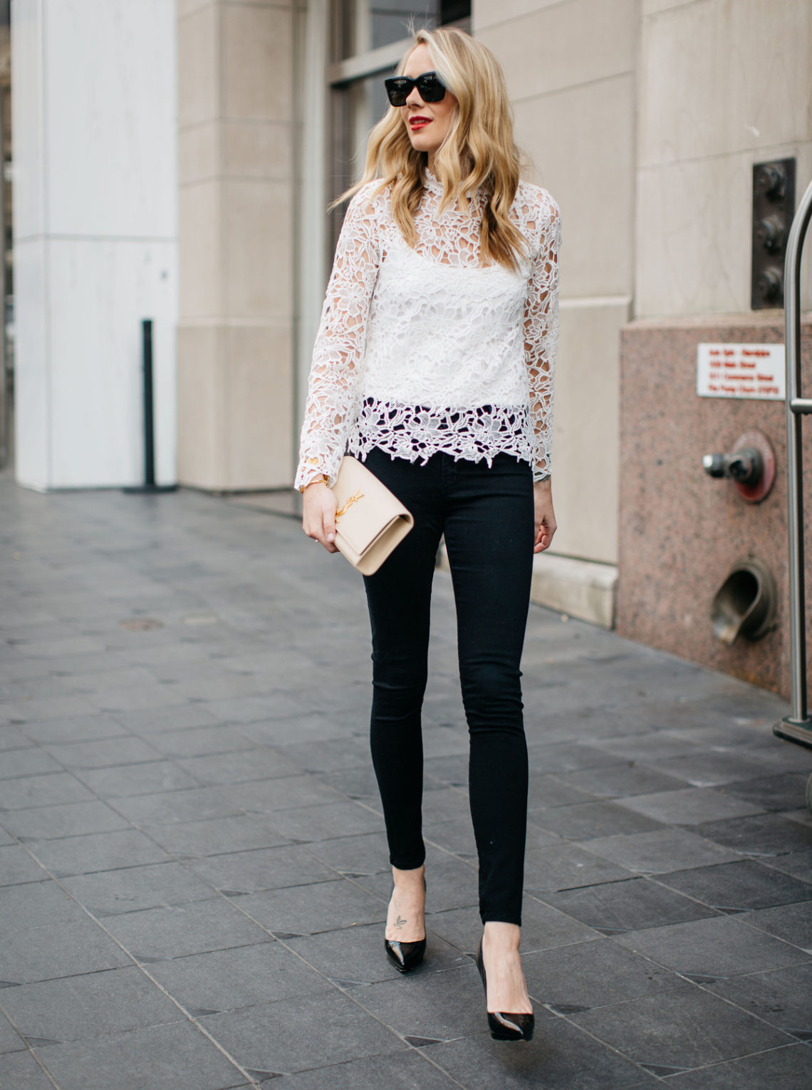 Fall Outfit, Winter Outfit, White Lace Long Sleeve Top, Black Skinny Jeans, Christian Louboutin Black Pumps, Saint Laurent Monogram Clutch