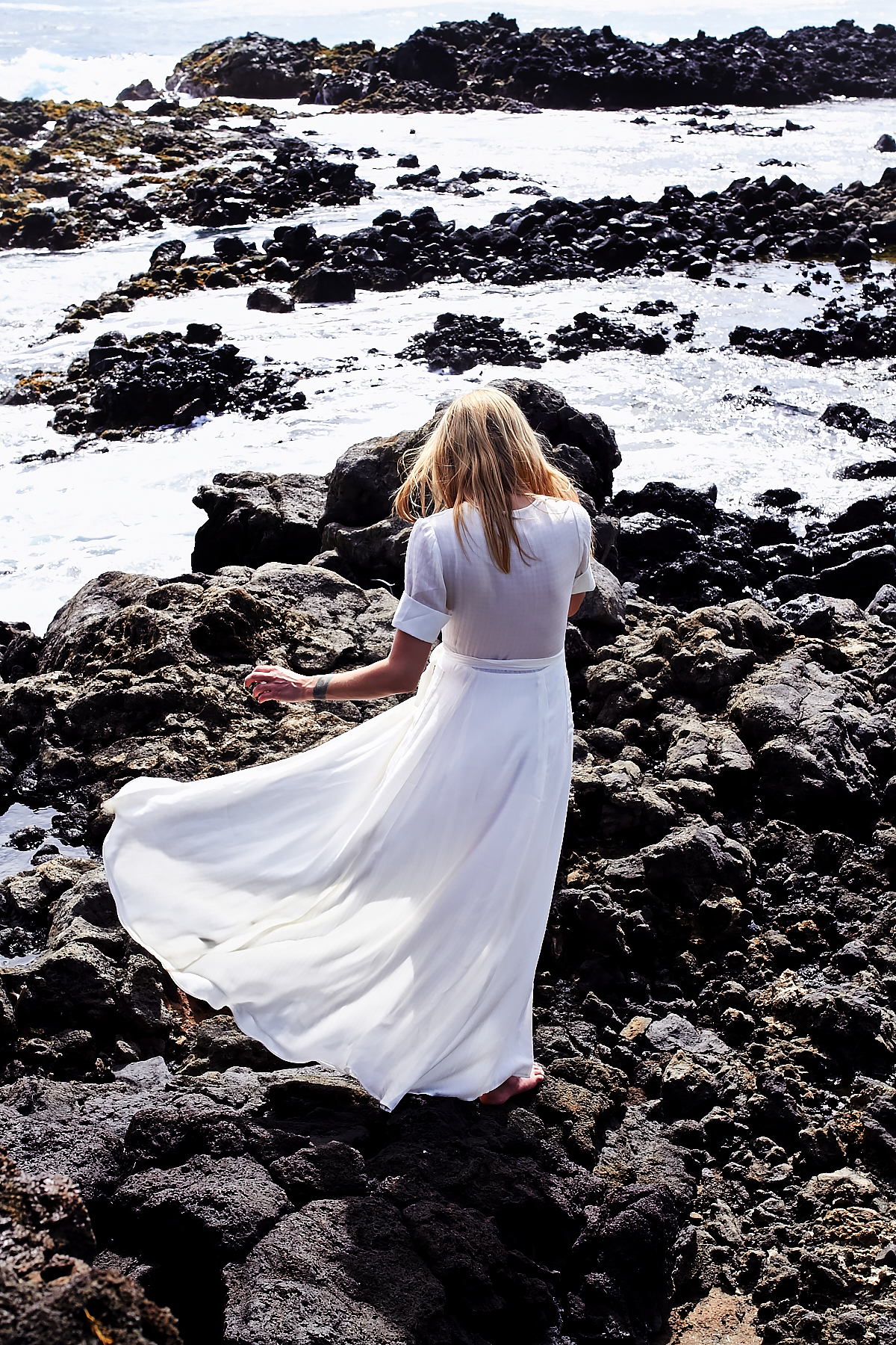 White Maxi Wrap Dress, Makapu'u Tide Pools, Hawaii, Oahu