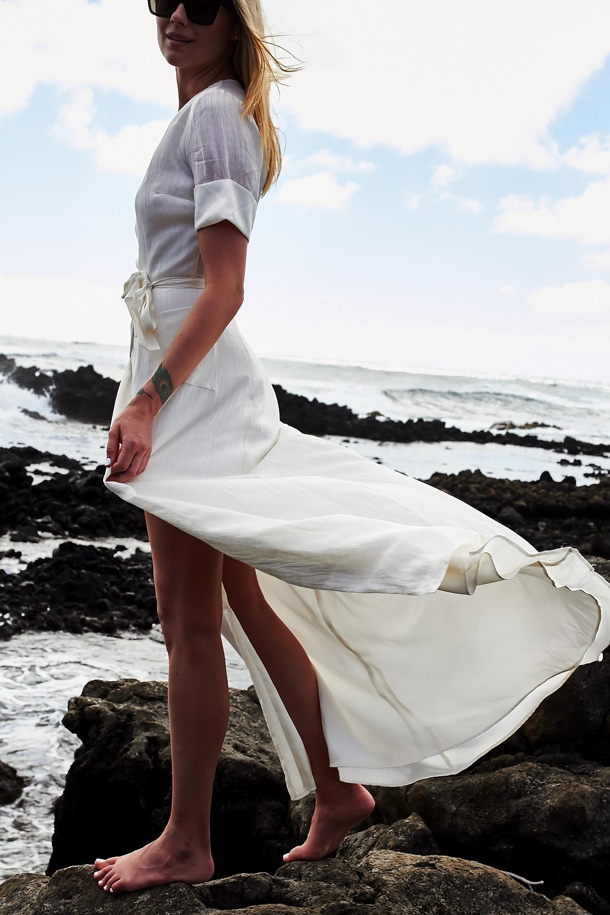 White Maxi Wrap Dress, Makapu'u Tide Pools, Hawaii, Oahu