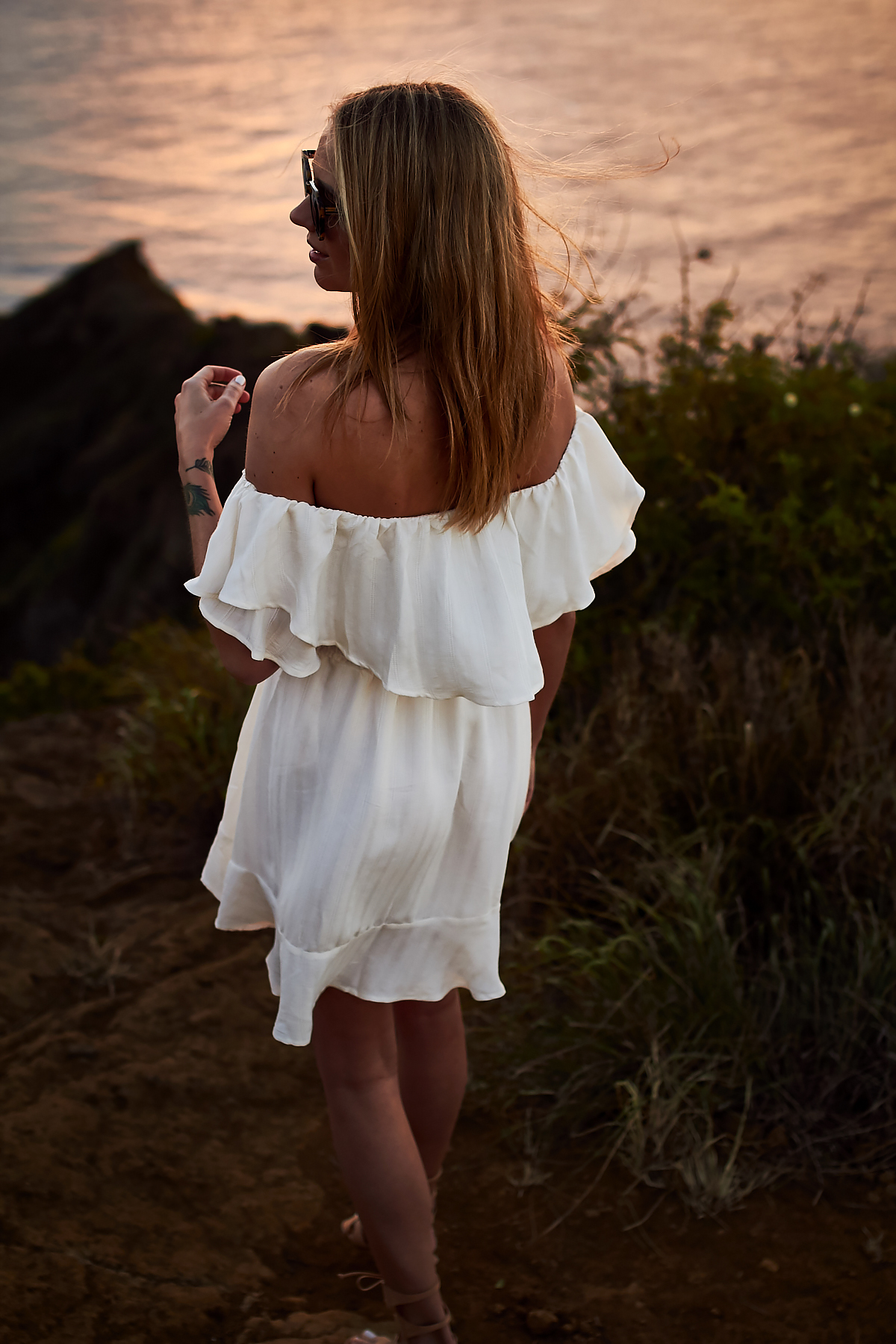 Tropical Vacation, white-off-the-shoulder-dress, Hawaii, Oahu, Koko Head, Sunrise