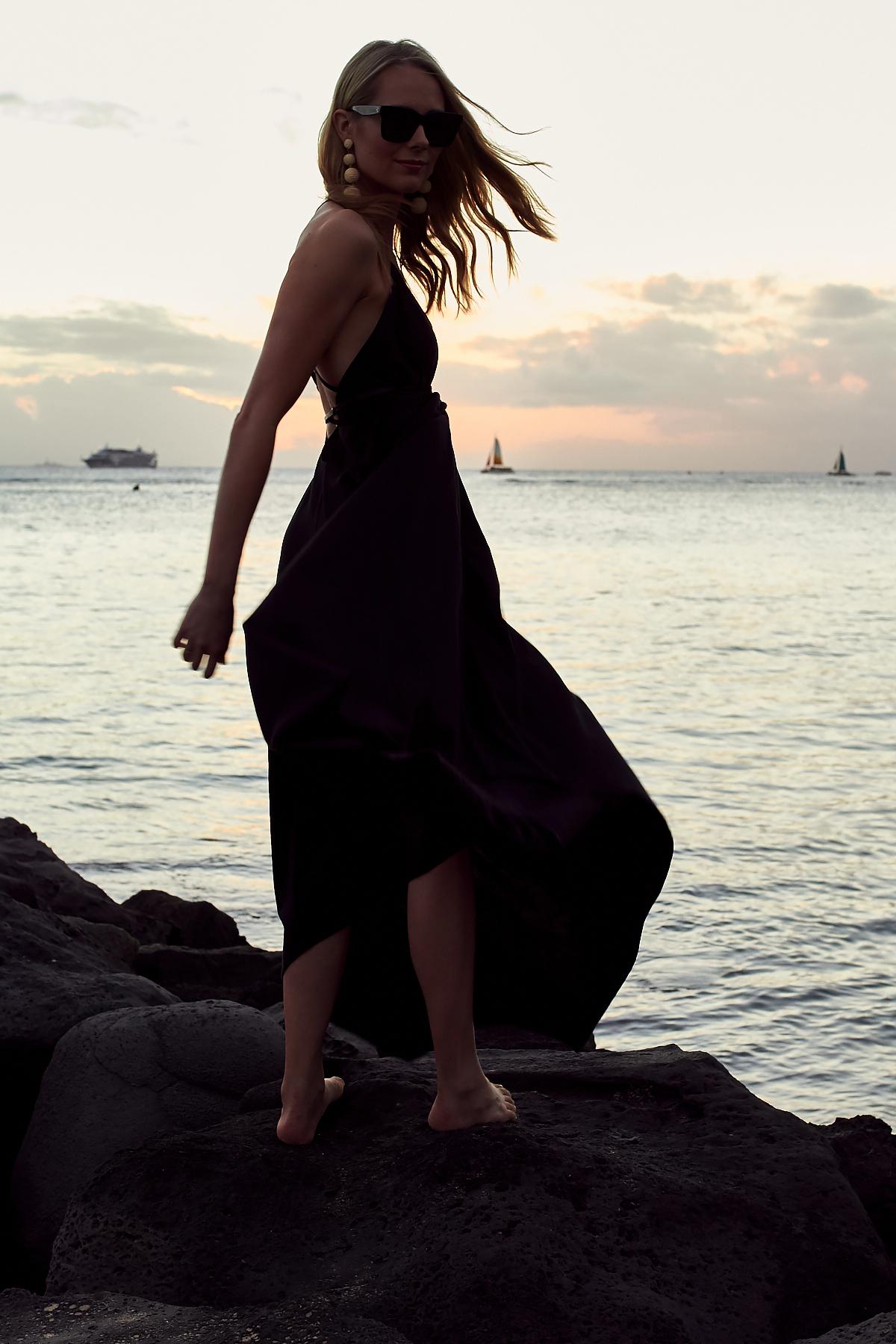 Caravana Black Maxi Dress, Hawaii, Oahu, Waikiki Beach