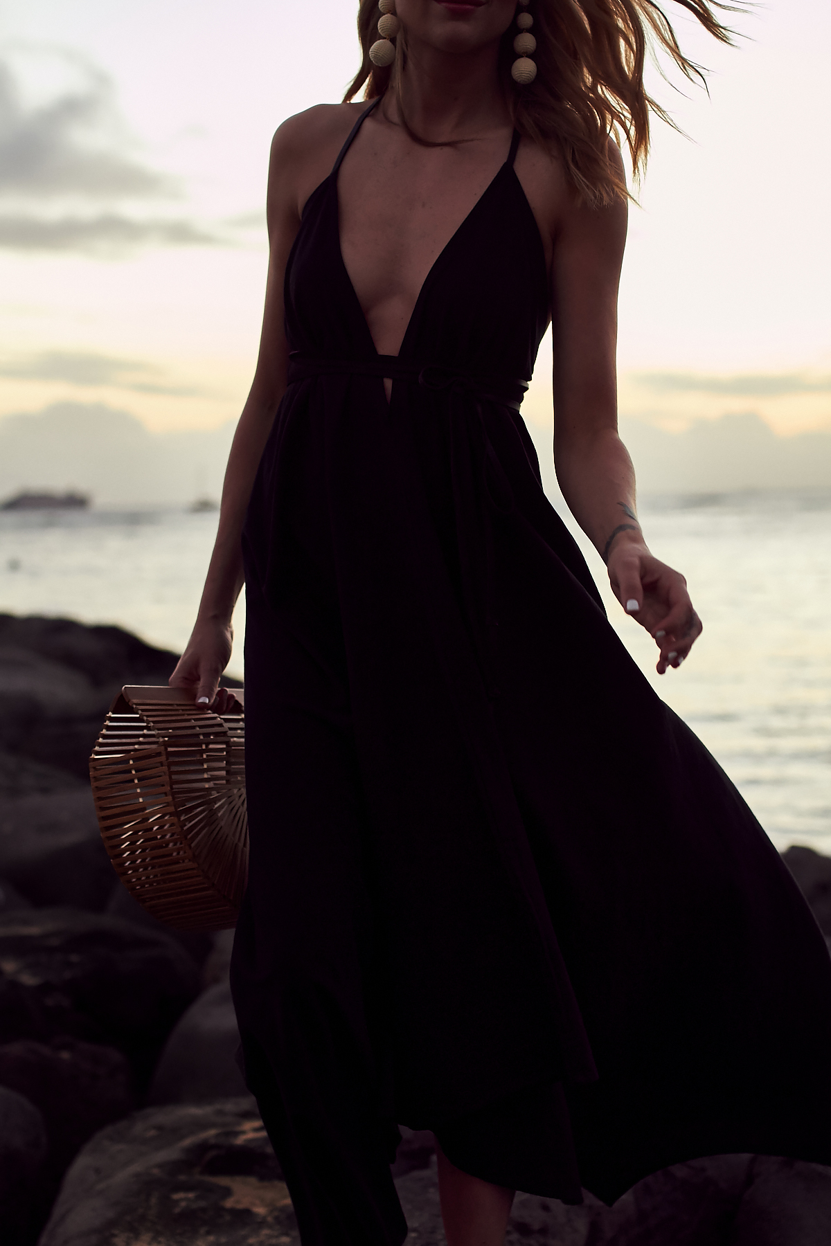 Caravana Black Maxi Dress, Hawaii, Oahu, Waikiki Beach