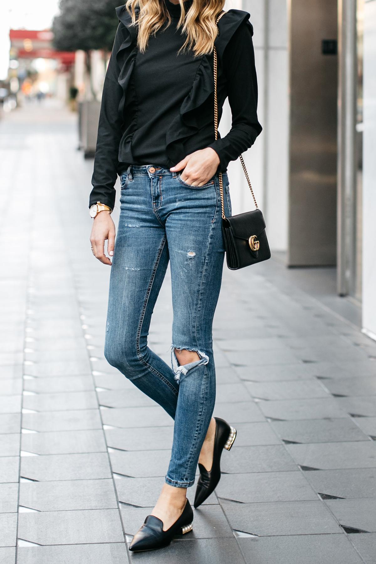 Fashion Jackson, Street Style, Black Long Sleeve Ruffle Top, Denim Ripped Skinny Jeans, Nicholas Kirkwood Pearl Heeled Loafers, Gucci Marmont Handbag
